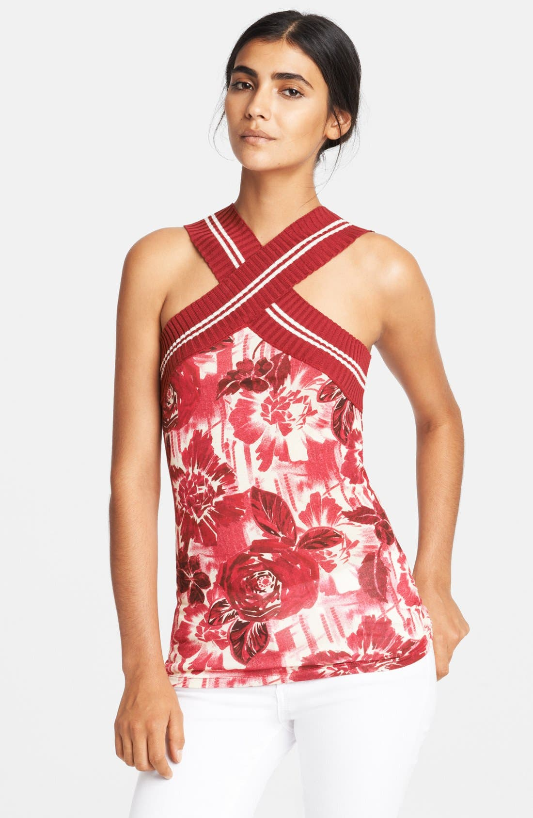Alternate Image 1 Selected - Jean Paul Gaultier Rose Print Knit Tank