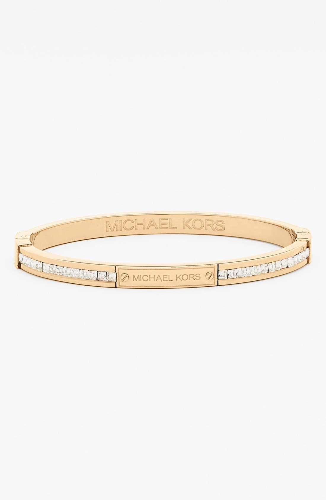 Main Image - Michael Kors Boxed Square Crystal Hinge Bangle