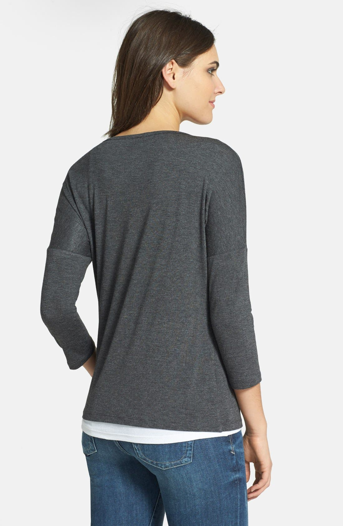 Alternate Image 2  - Pleione Studded Front Stretch Jersey Tee