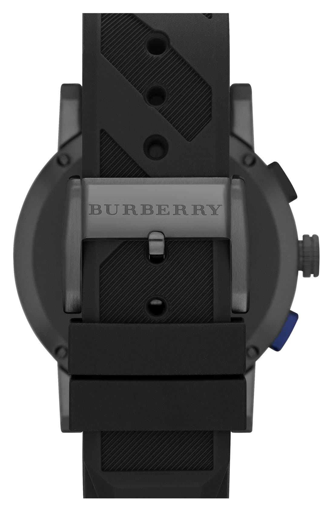 Alternate Image 2  - Burberry Chronograph Rubber Strap Watch, 42mm
