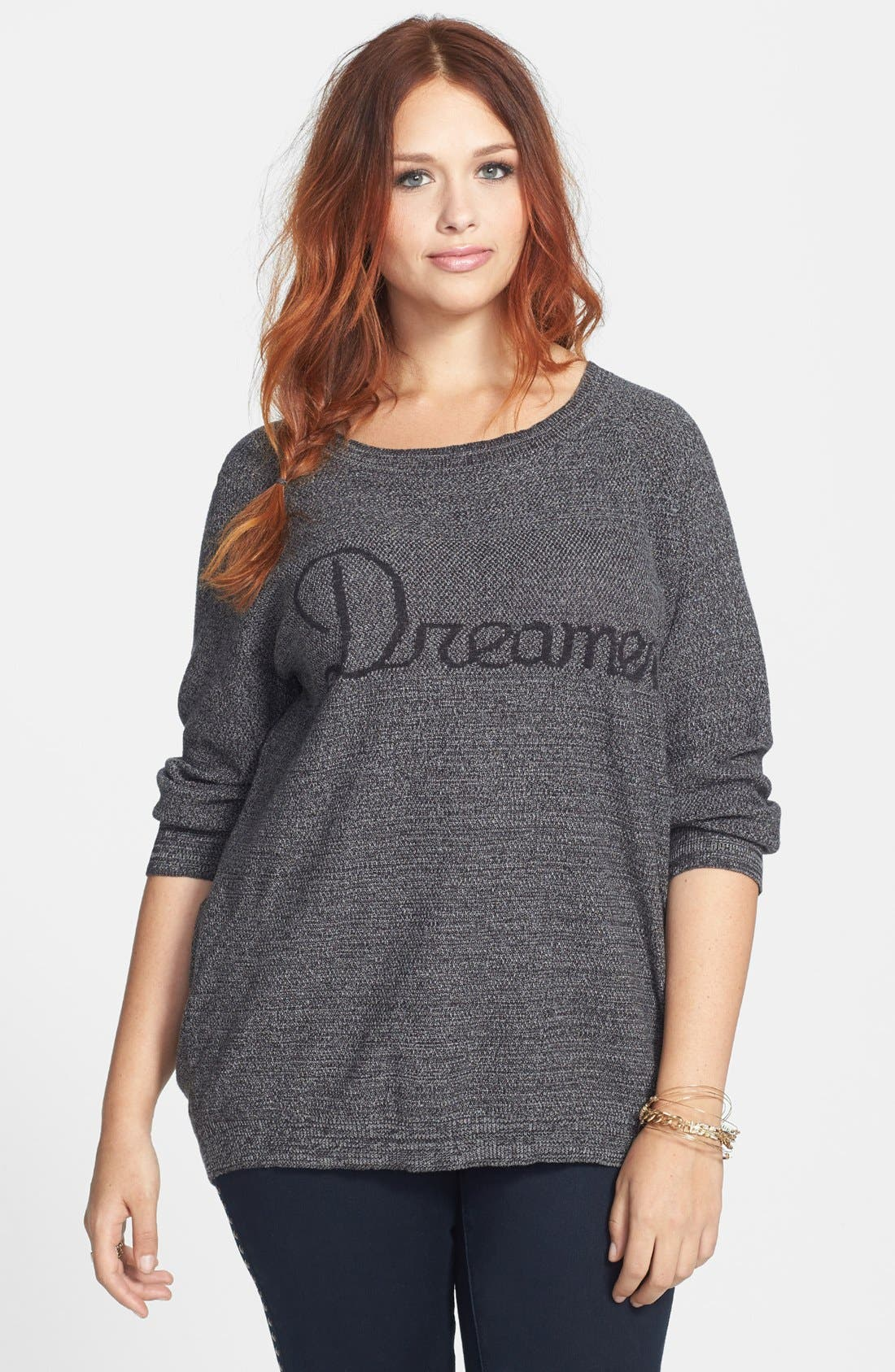 Alternate Image 1 Selected - Love by Design 'Dreamer' Cotton Sweater (Plus Size)