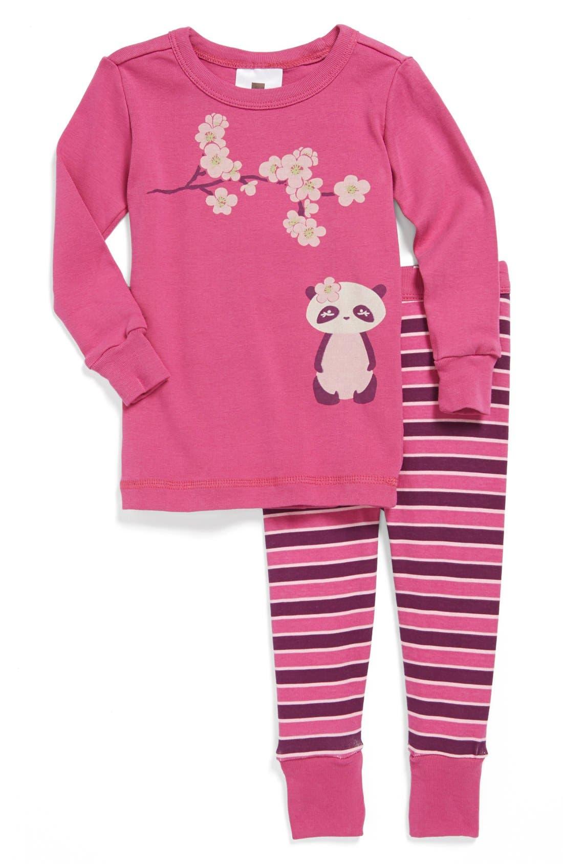 Alternate Image 1 Selected - Tea Collection 'Panda' Pajamas (Baby Girls)