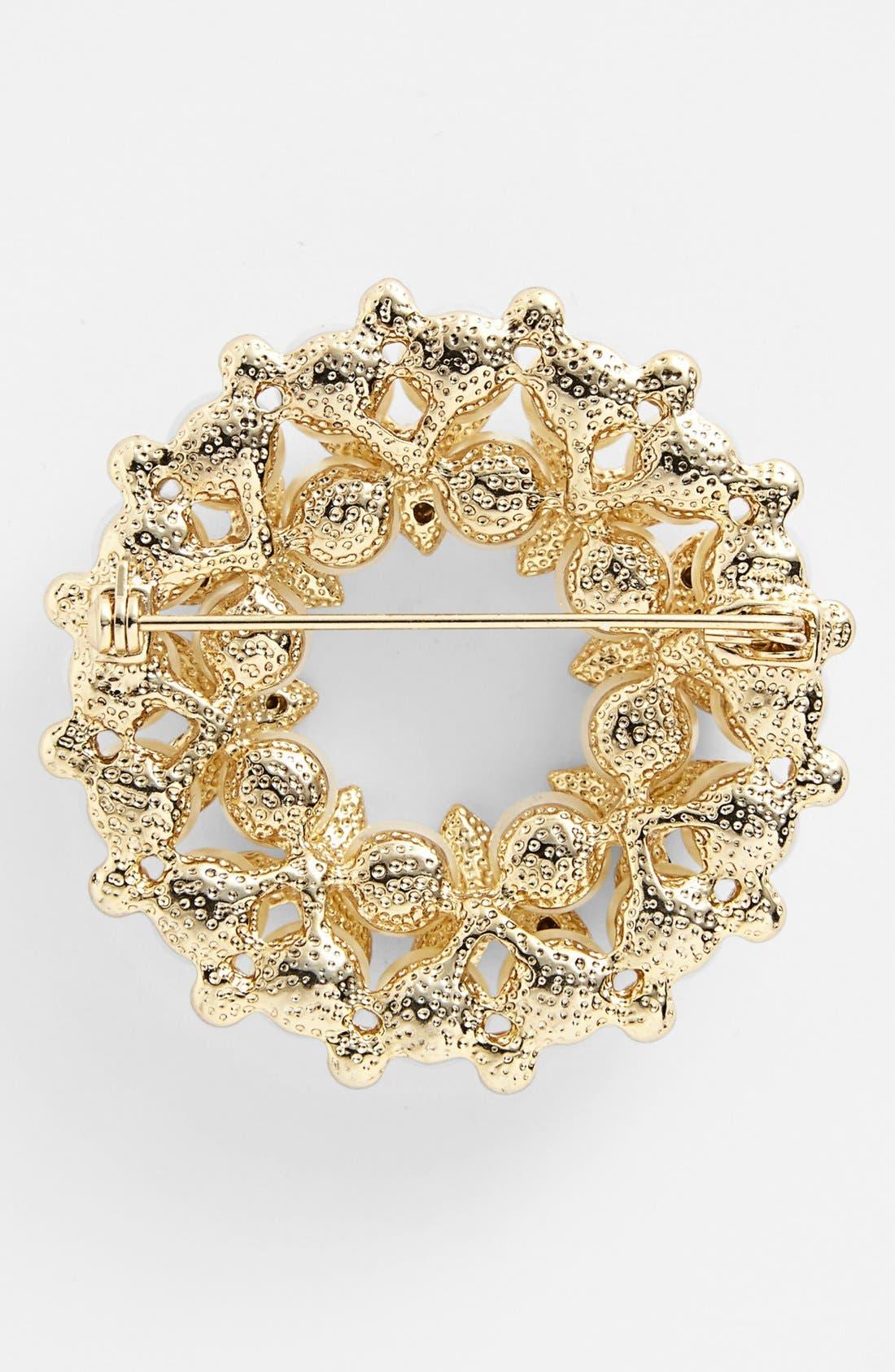 Alternate Image 2  - Anne Klein Faux Pearl & Crystal Wreath Pin