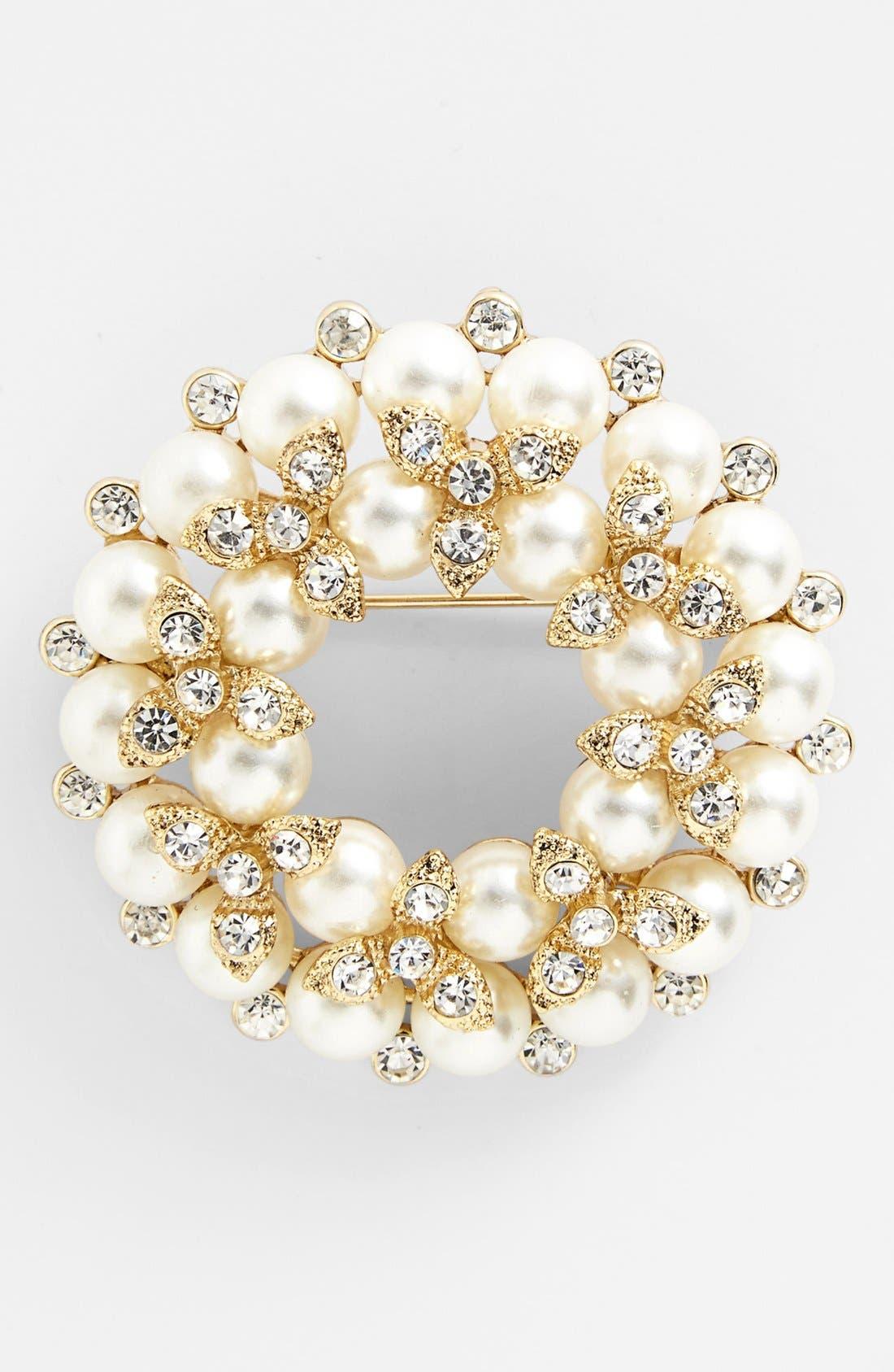 Main Image - Anne Klein Faux Pearl & Crystal Wreath Pin