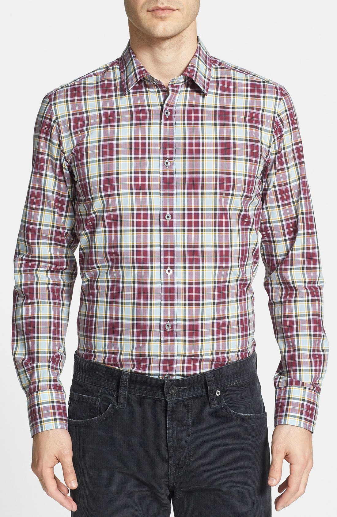 Main Image - BOSS HUGO BOSS 'Ronny' Slim Fit Plaid Sport Shirt