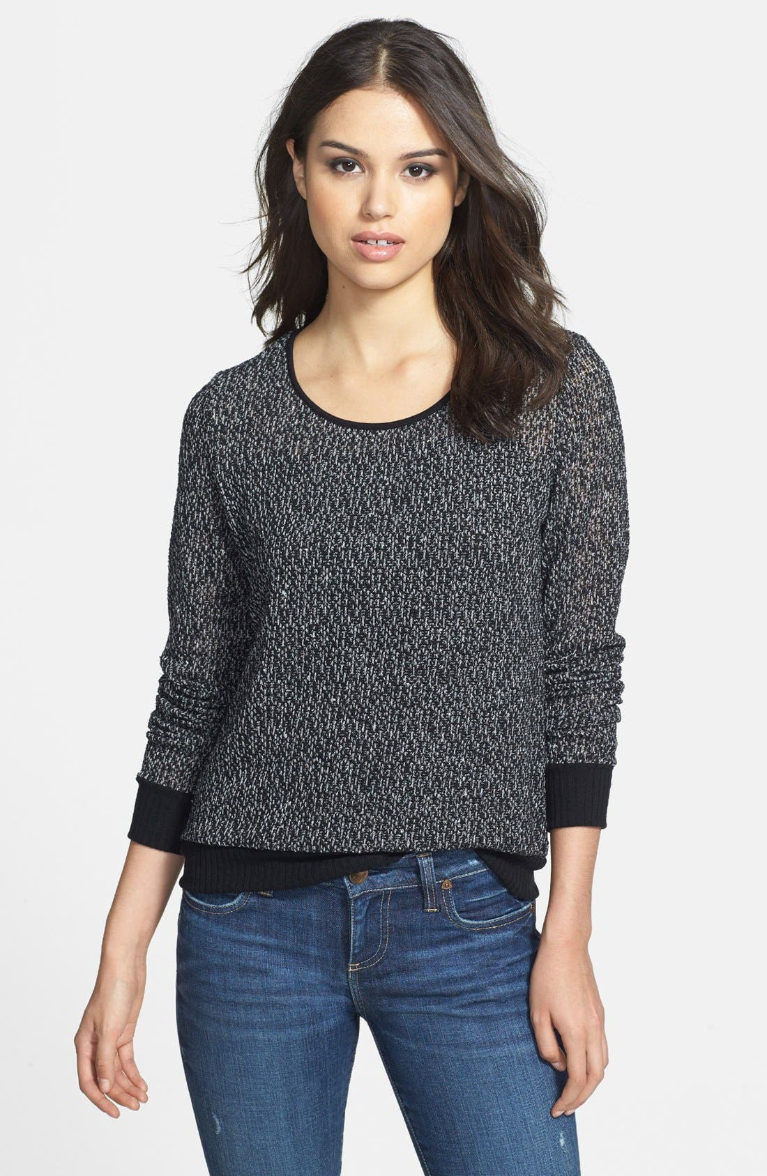 Alternate Image 1 Selected - Olivia Moon Lace Inset Back Pullover