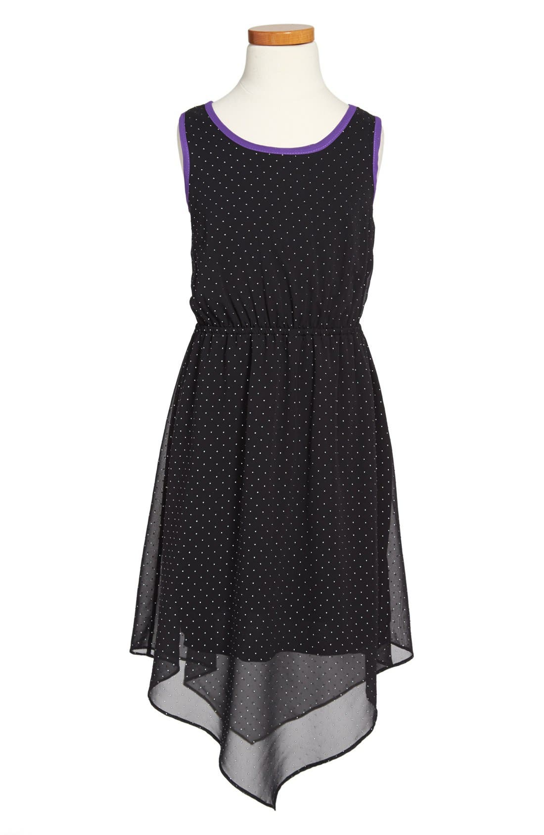 Main Image - Soprano Studded Dipped Hem Sleeveless Dress (Big Girls)