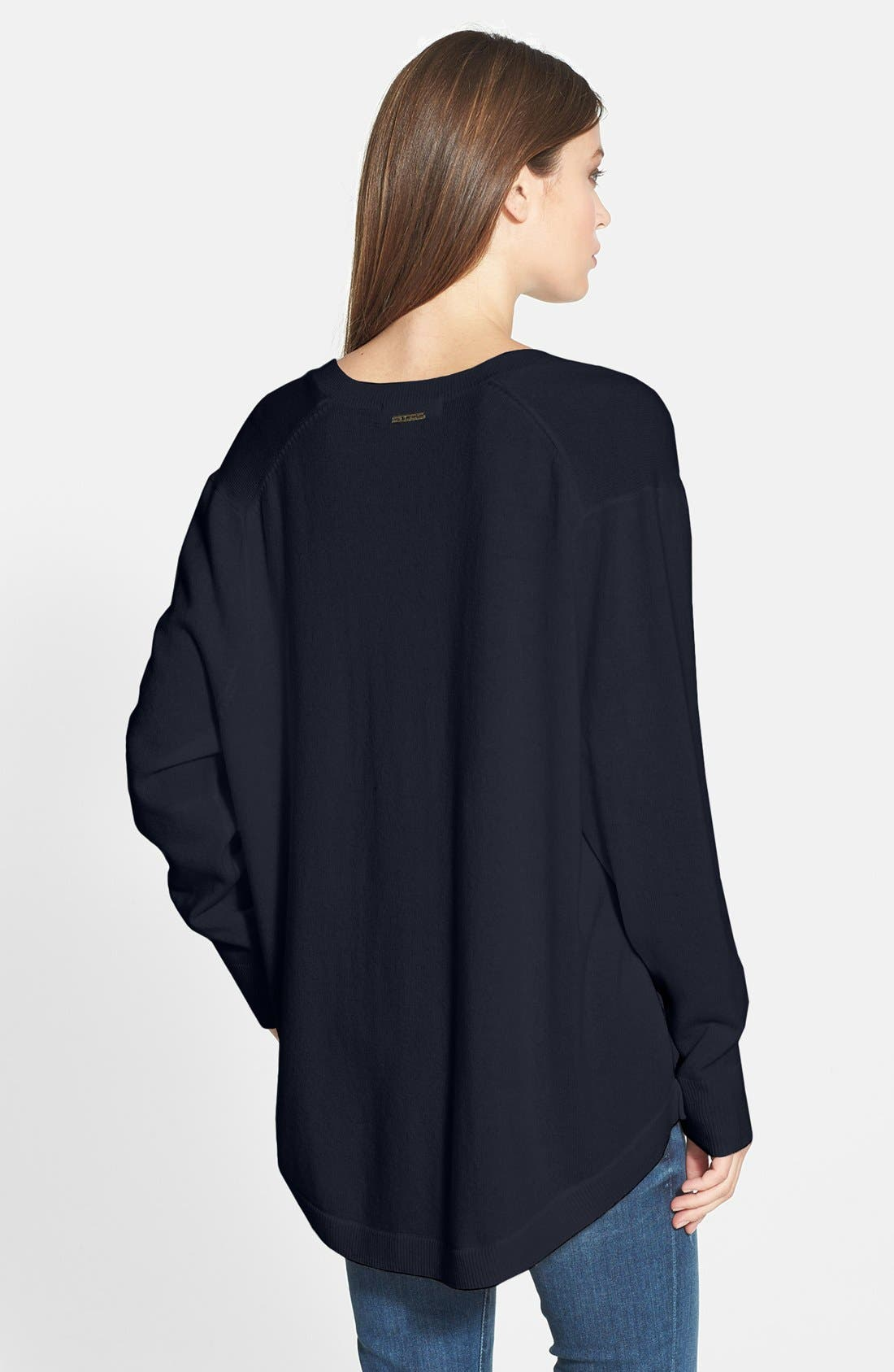 Alternate Image 2  - MICHAEL Michael Kors High/Low Cashmere V-Neck Sweater
