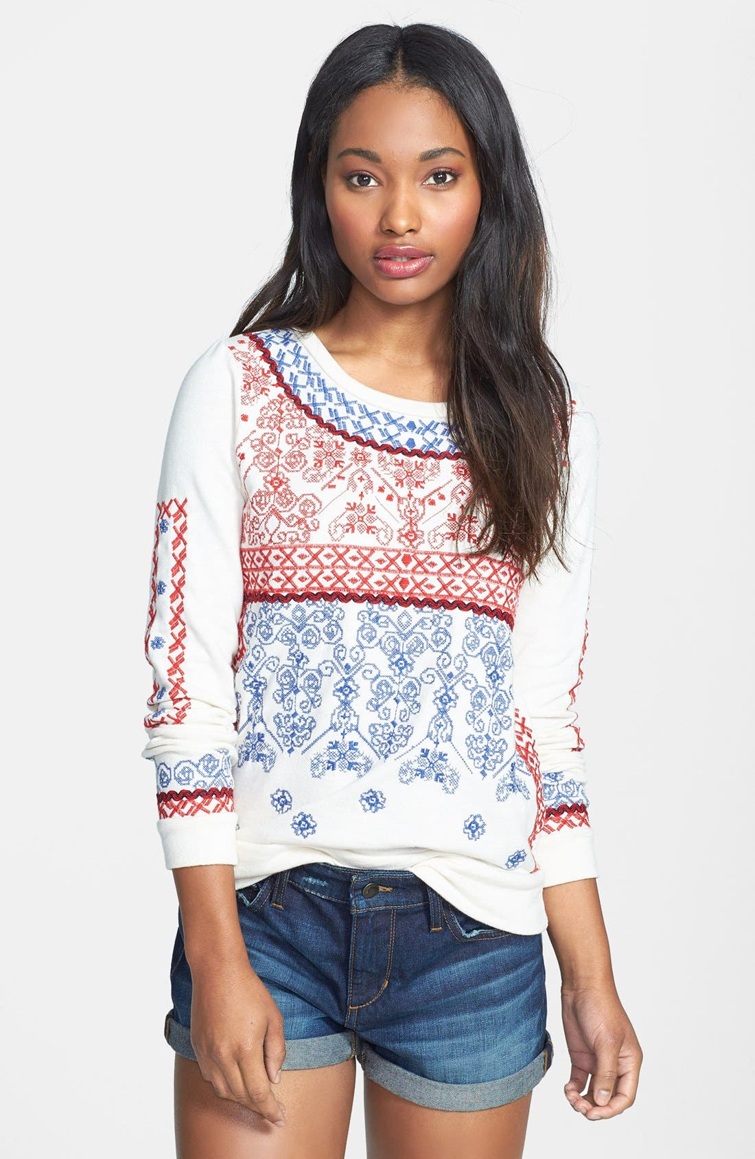 Alternate Image 1 Selected - Lucky Brand Embroidered Sweatshirt
