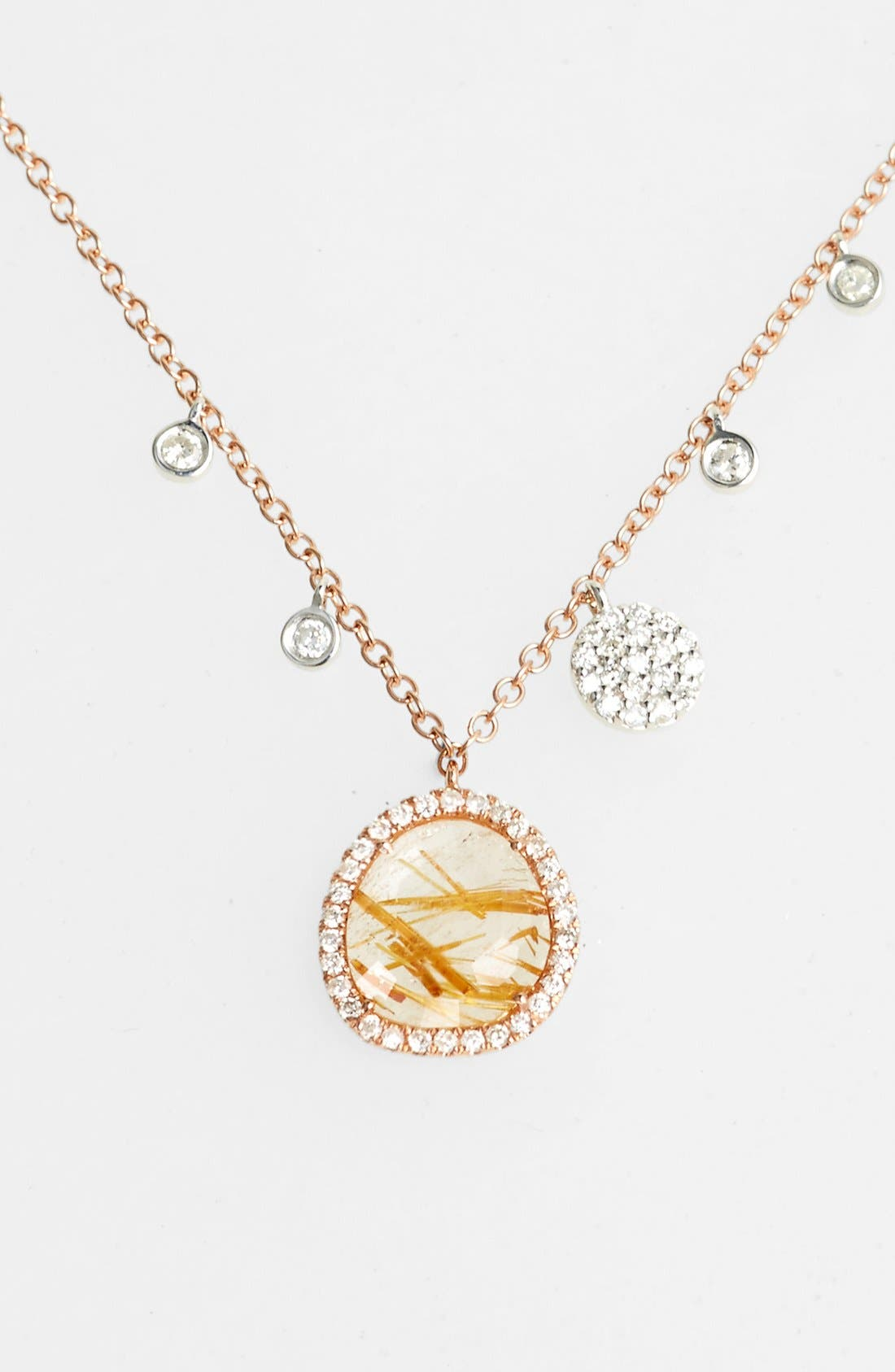 Alternate Image 1 Selected - MeiraT 'Rough Cut' Stone & Diamond Pendant Necklace
