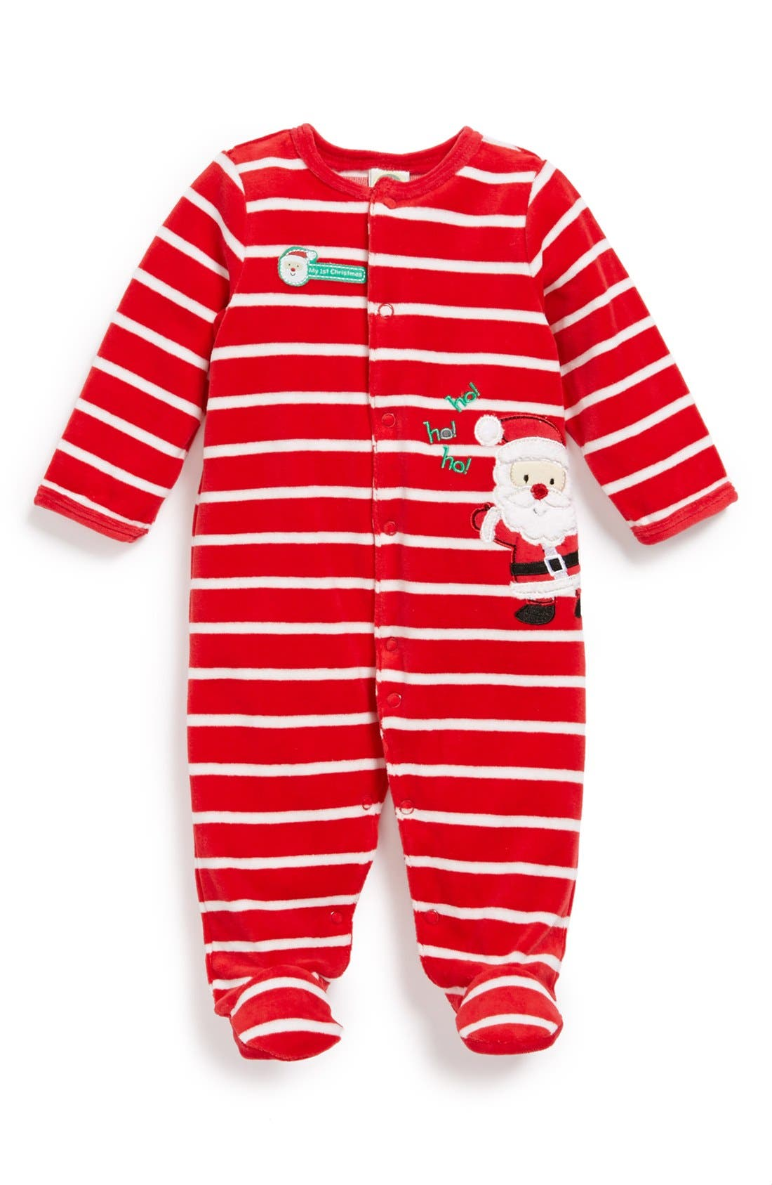 Alternate Image 1 Selected - Little Me 'First Christmas - Santa' Velour One-Piece (Baby)