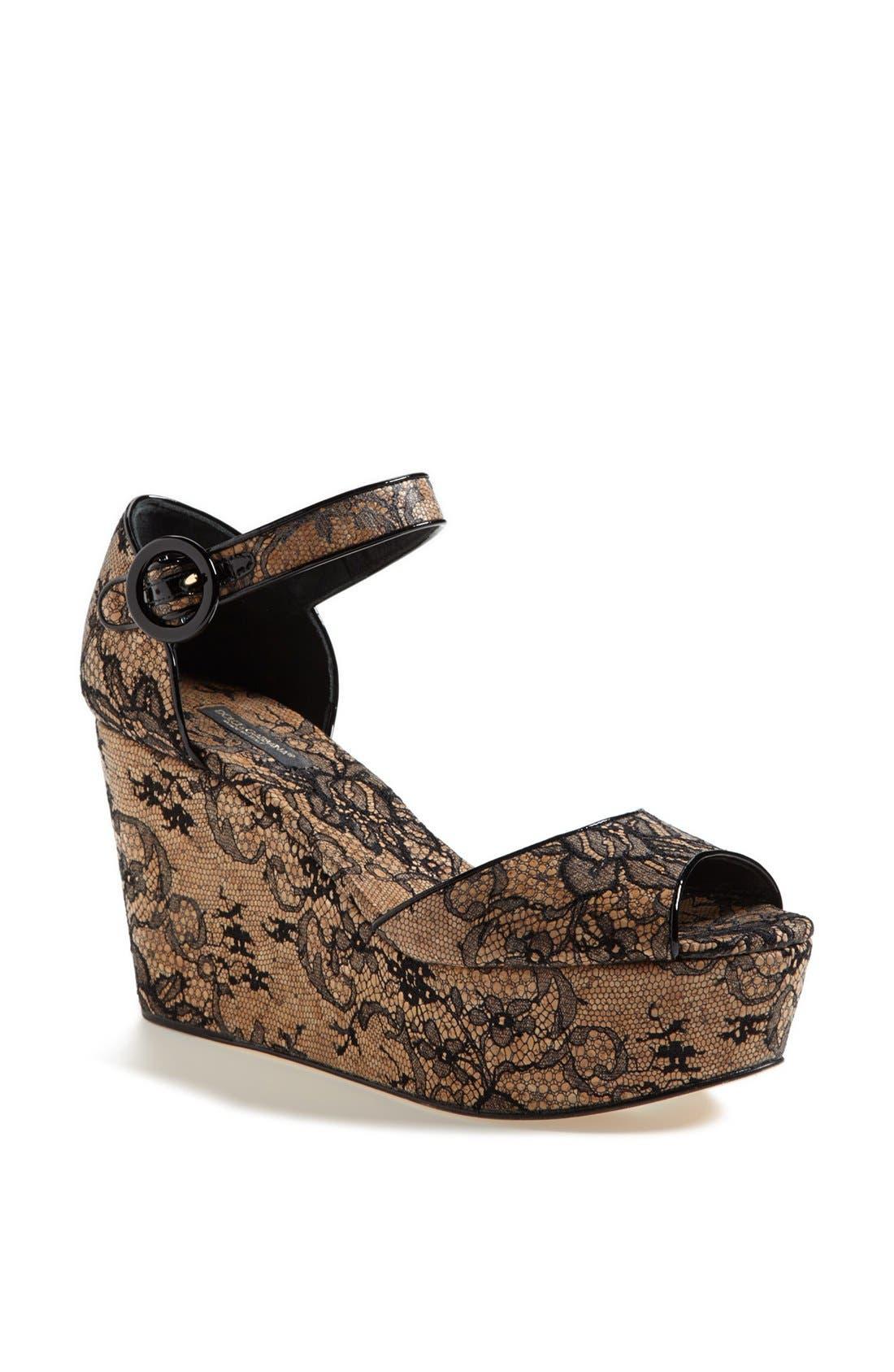 Alternate Image 1 Selected - Dolce&Gabbana Lace Wedge Sandal