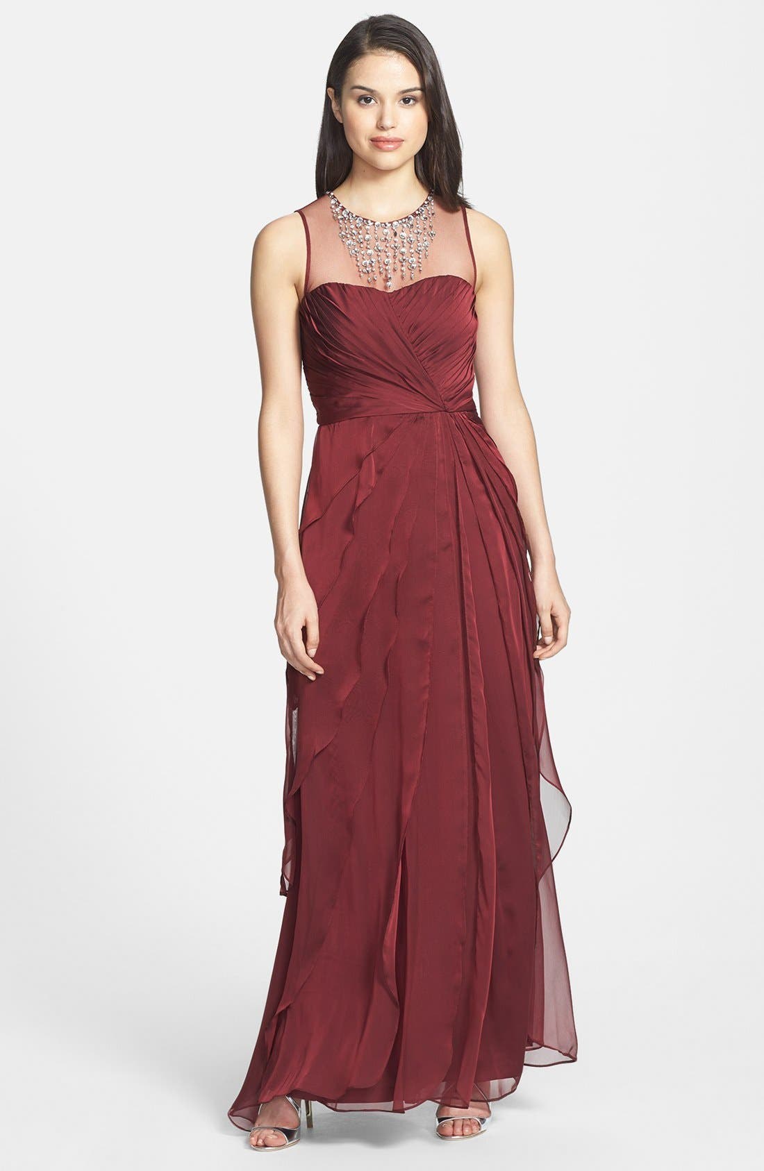 Alternate Image 1 Selected - Adrianna Papell Embellished Twist Front Mesh Gown