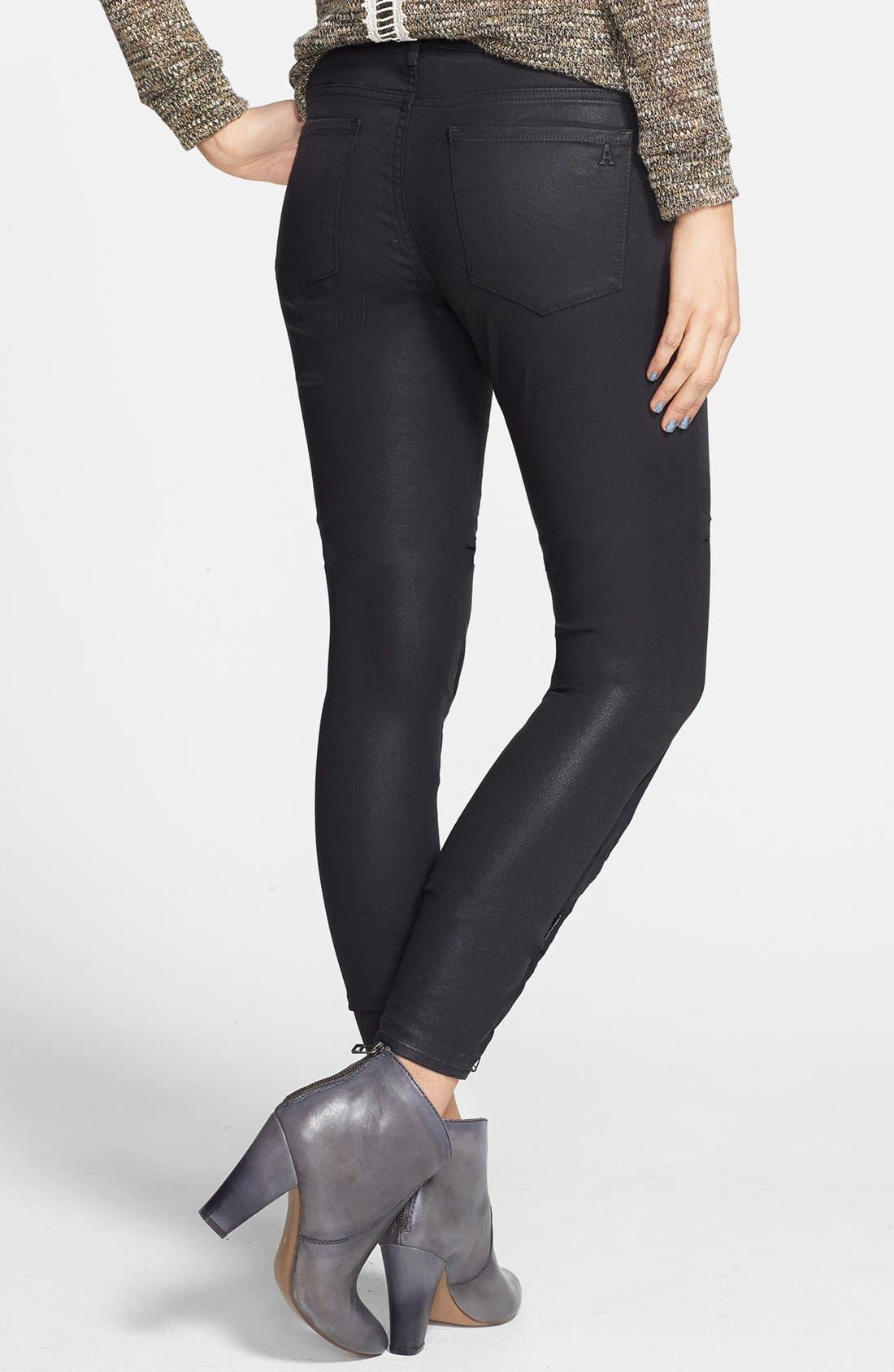 Alternate Image 2  - Articles of Society 'Mya' Coated Skinny Jeans (Moto)