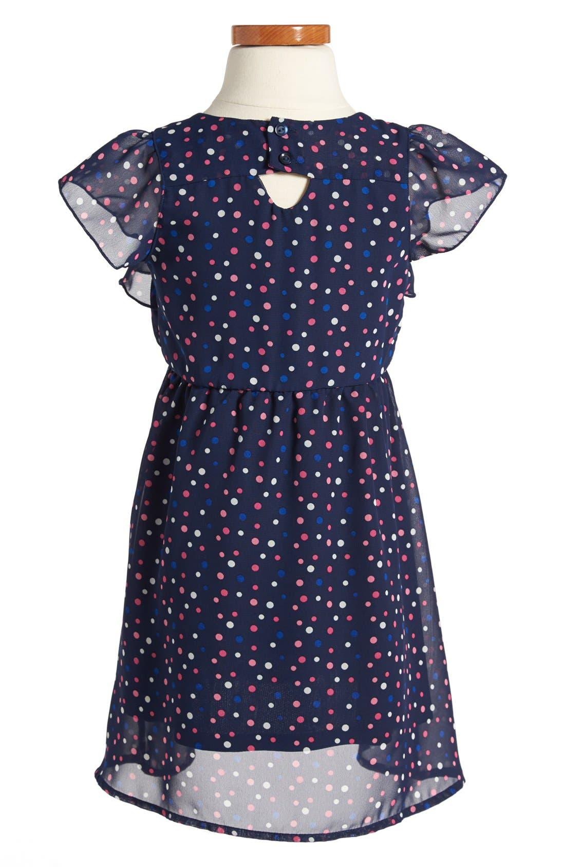 Alternate Image 2  - Weavers Polka Dot Chiffon Dress (Toddler Girls)