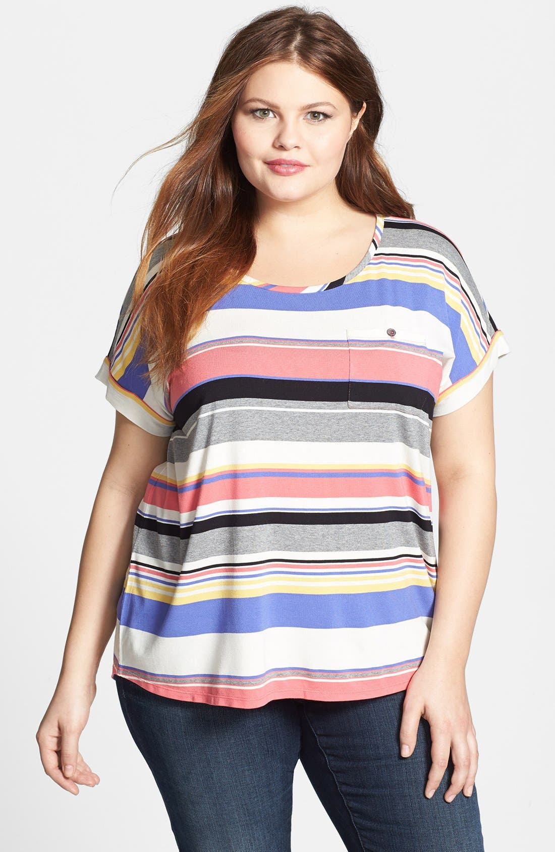 Alternate Image 1 Selected - Two by Vince Camuto Stripe Tee (Plus Size)