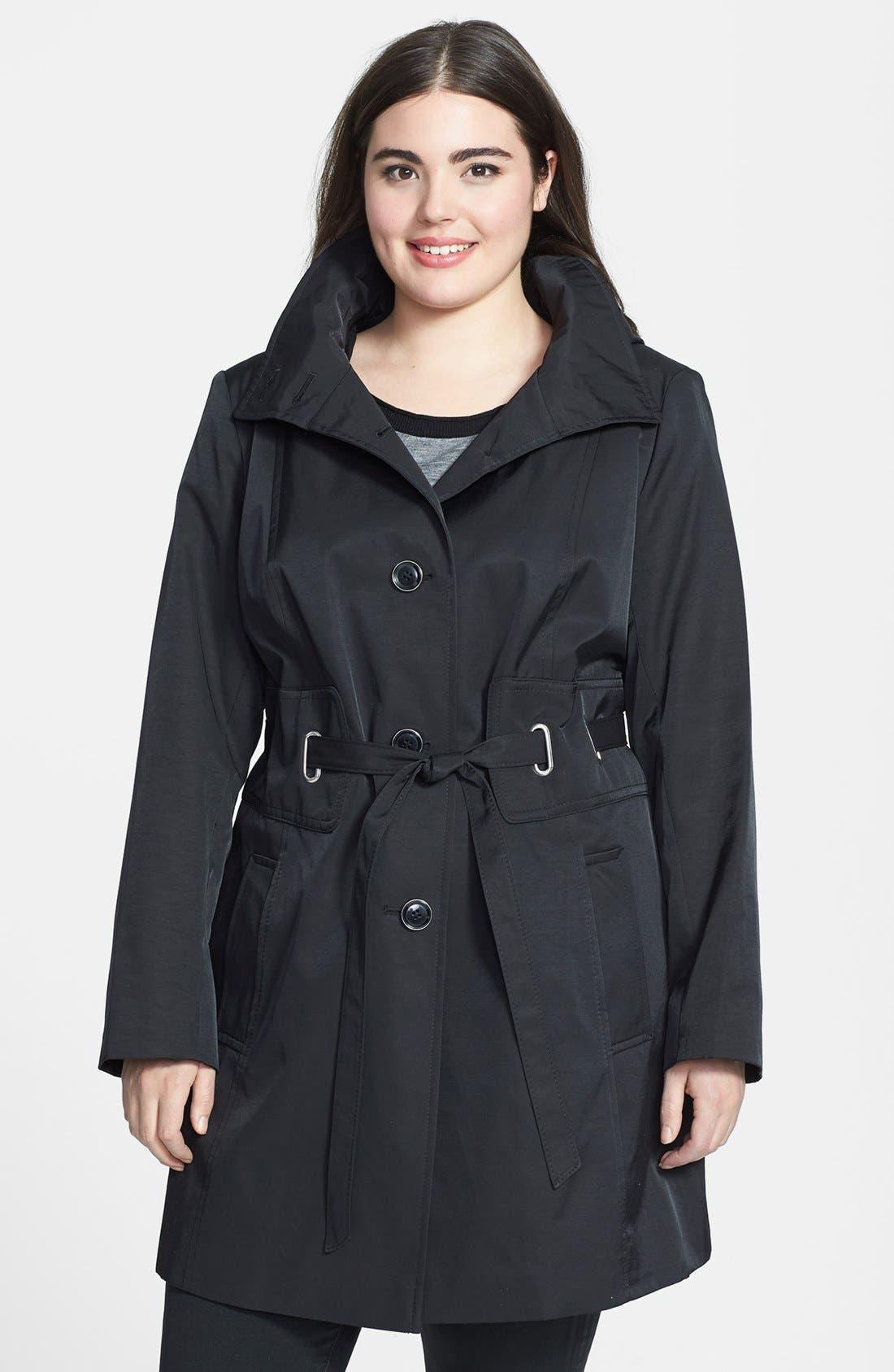 Main Image - Via Spiga Belted Hooded Raincoat (Plus Size)