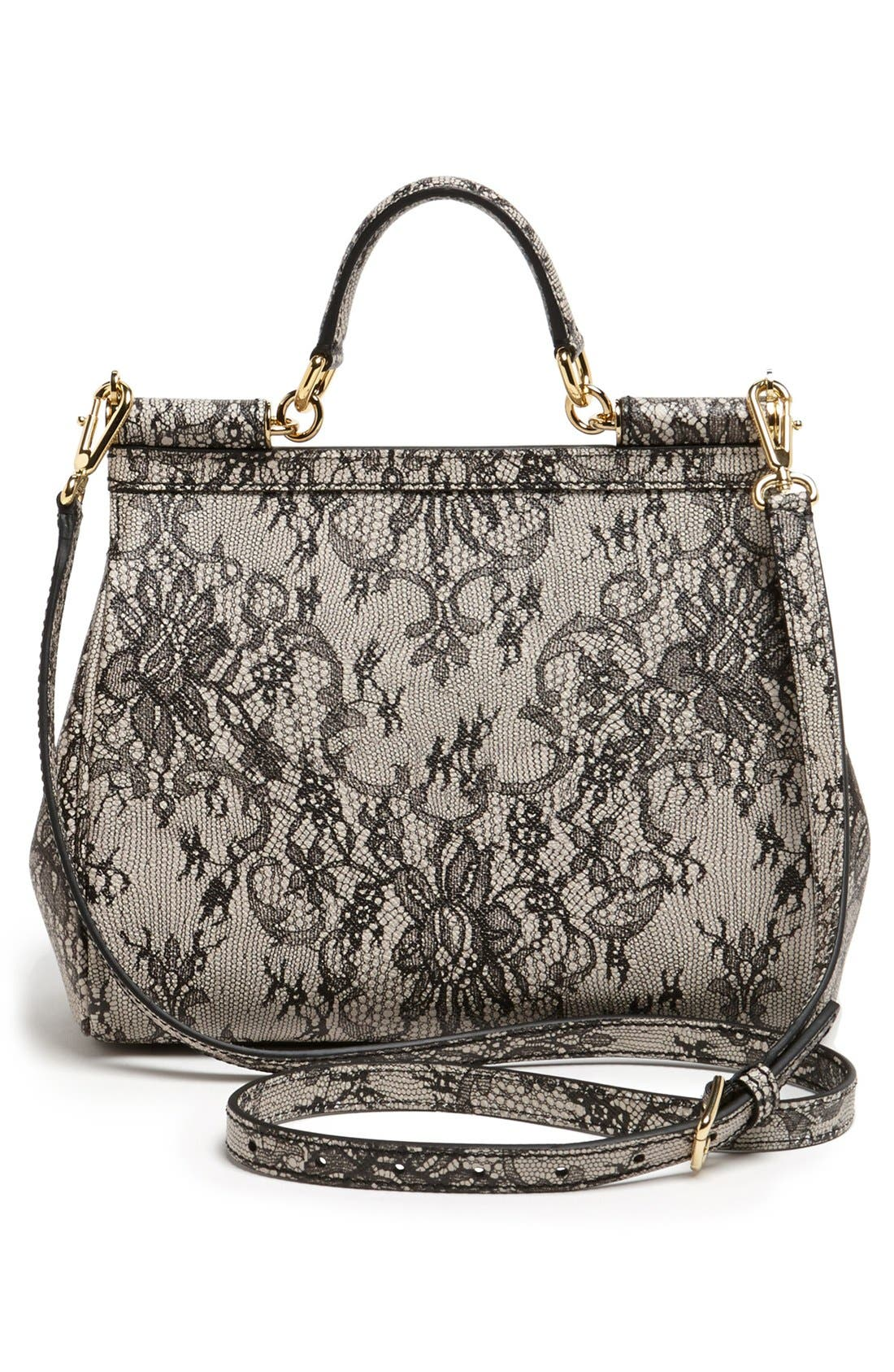 Alternate Image 4  - Dolce&Gabbana 'Miss Sicily - Printed Lace' Top Handle Leather Satchel, Small