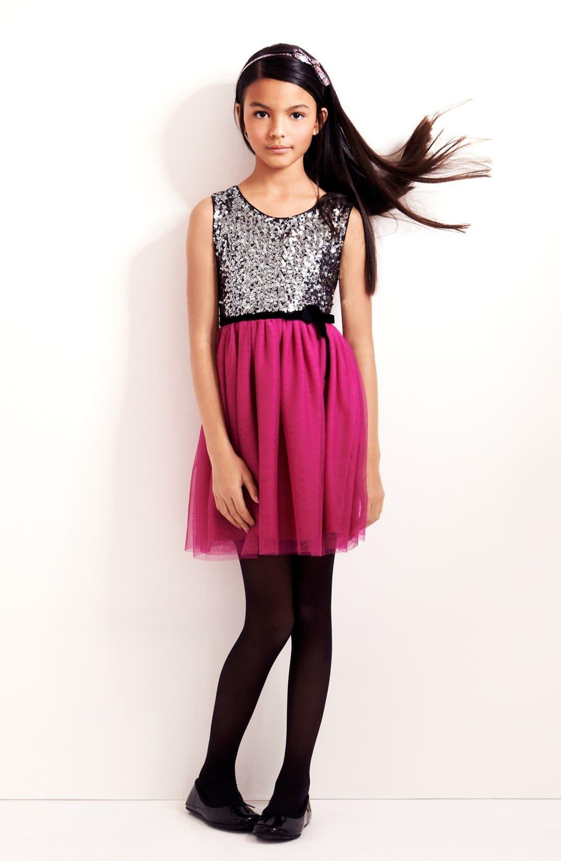 Alternate Image 1 Selected - Zunie Sequin Dress & Nordstrom Ballet Flat (Big Girls)