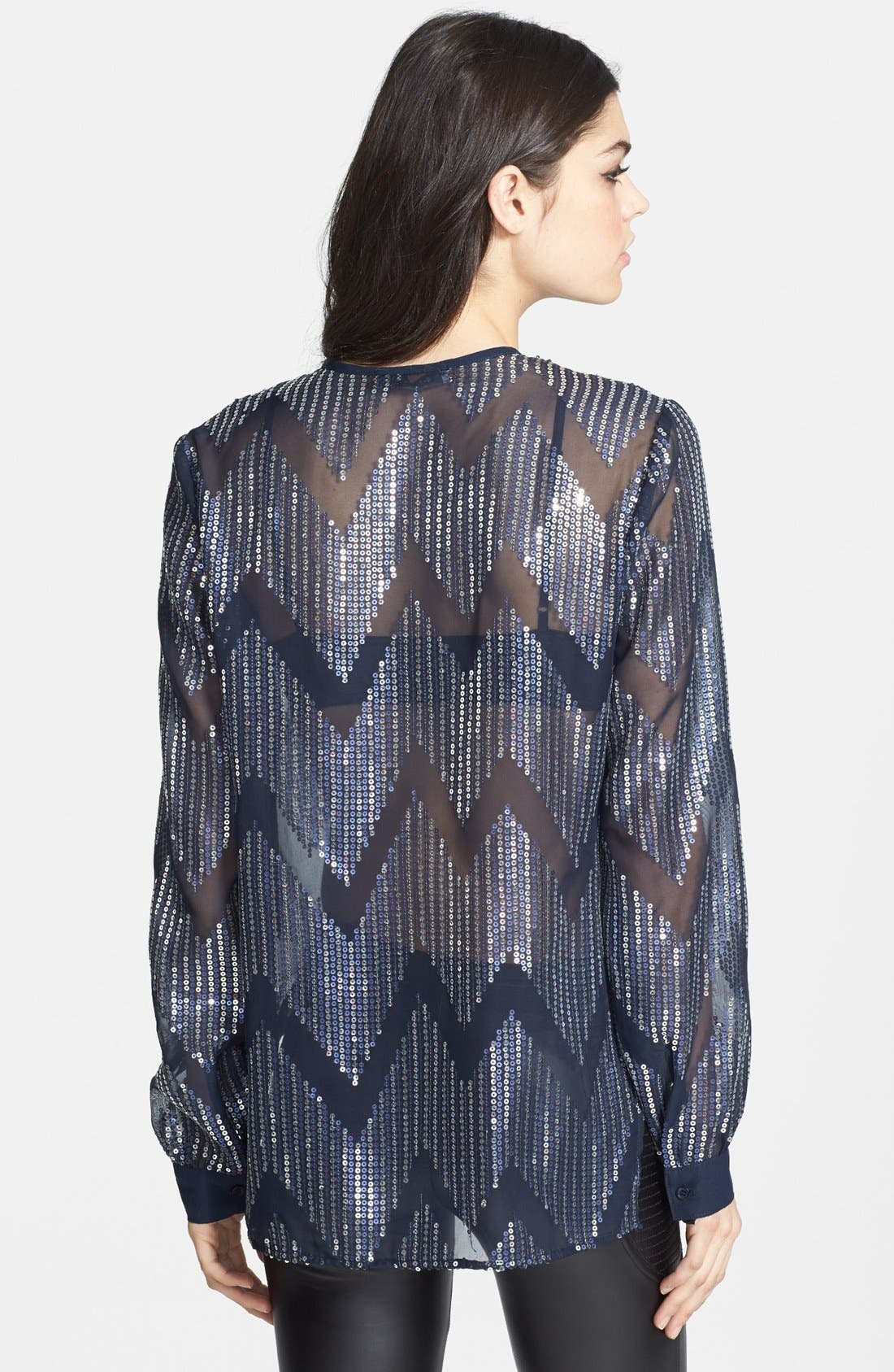Alternate Image 2  - Wayf Sequin Chiffon Surplice Top