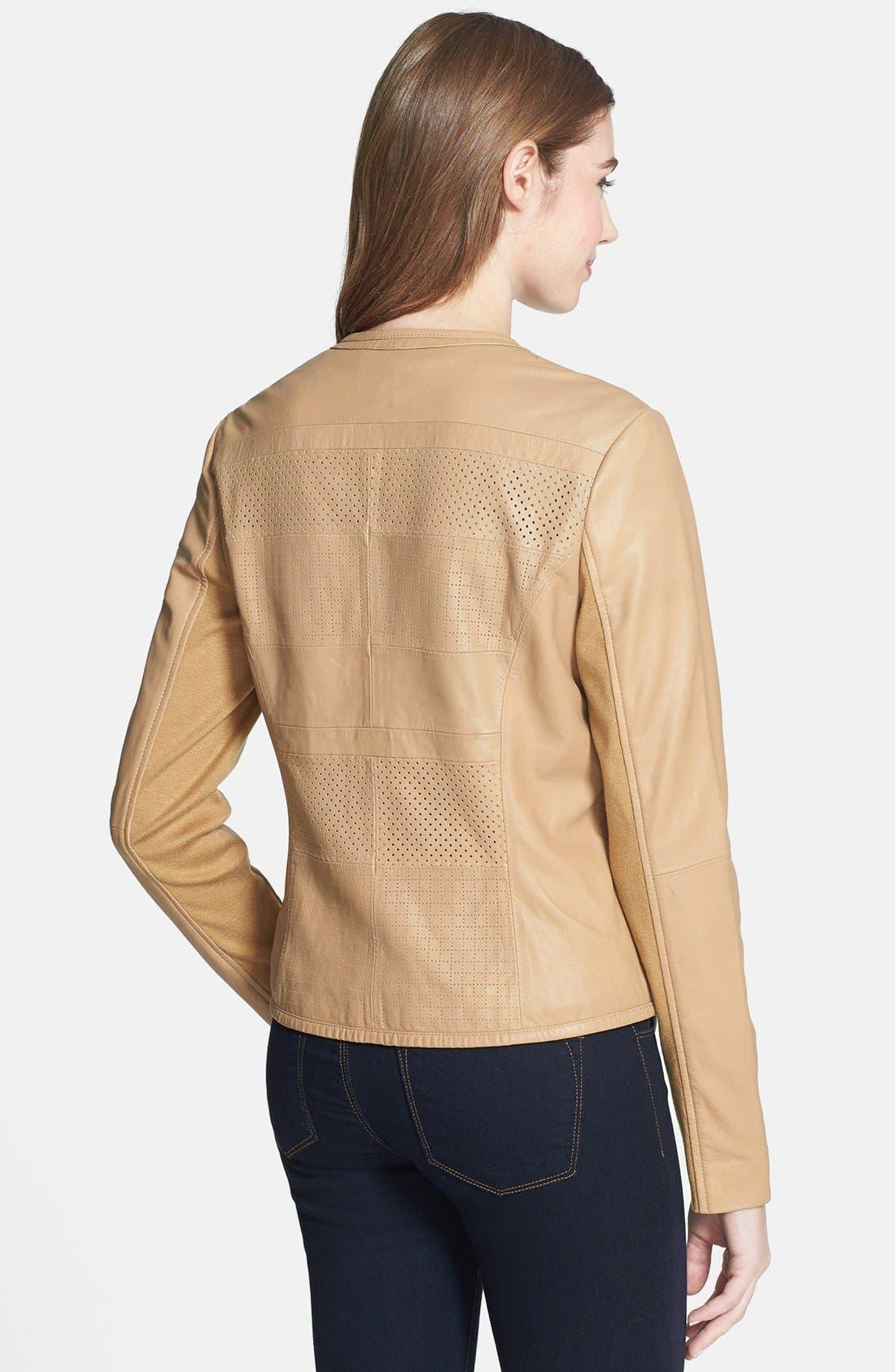 Alternate Image 2  - Bernardo Perforated Leather Jacket (Regular & Petite)