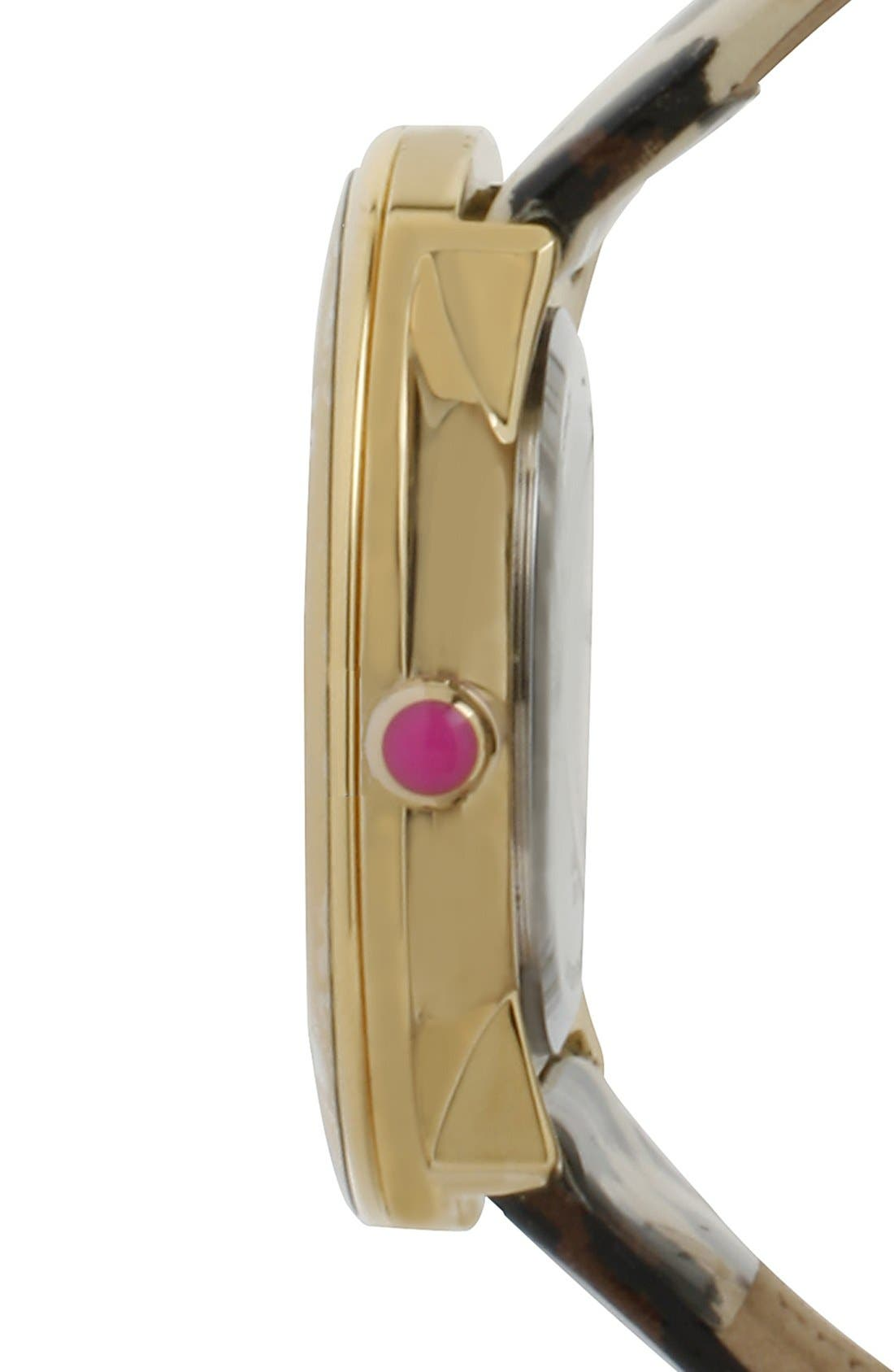 Alternate Image 3  - Betsey Johnson Leopard Print Patent Leather Strap Watch, 41mm