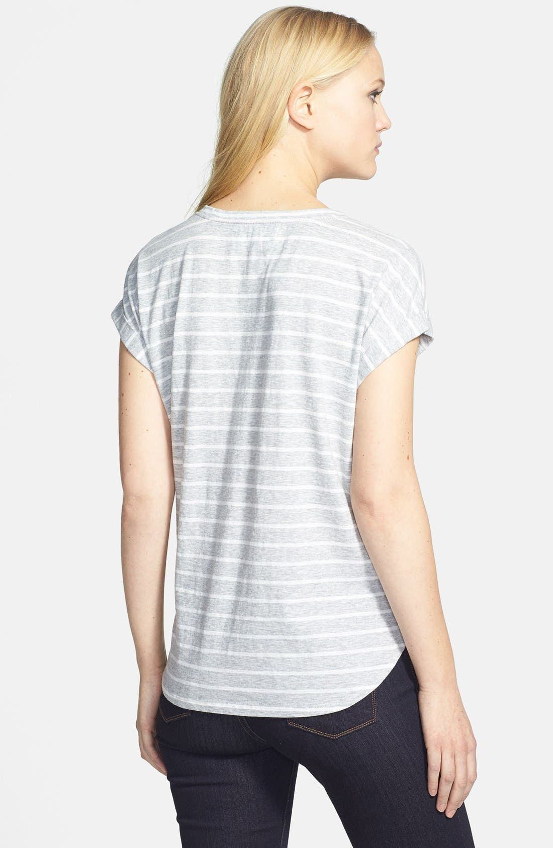 Alternate Image 2  - Two by Vince Camuto 'Pinpoint Stripe' Cotton V-Neck Tee