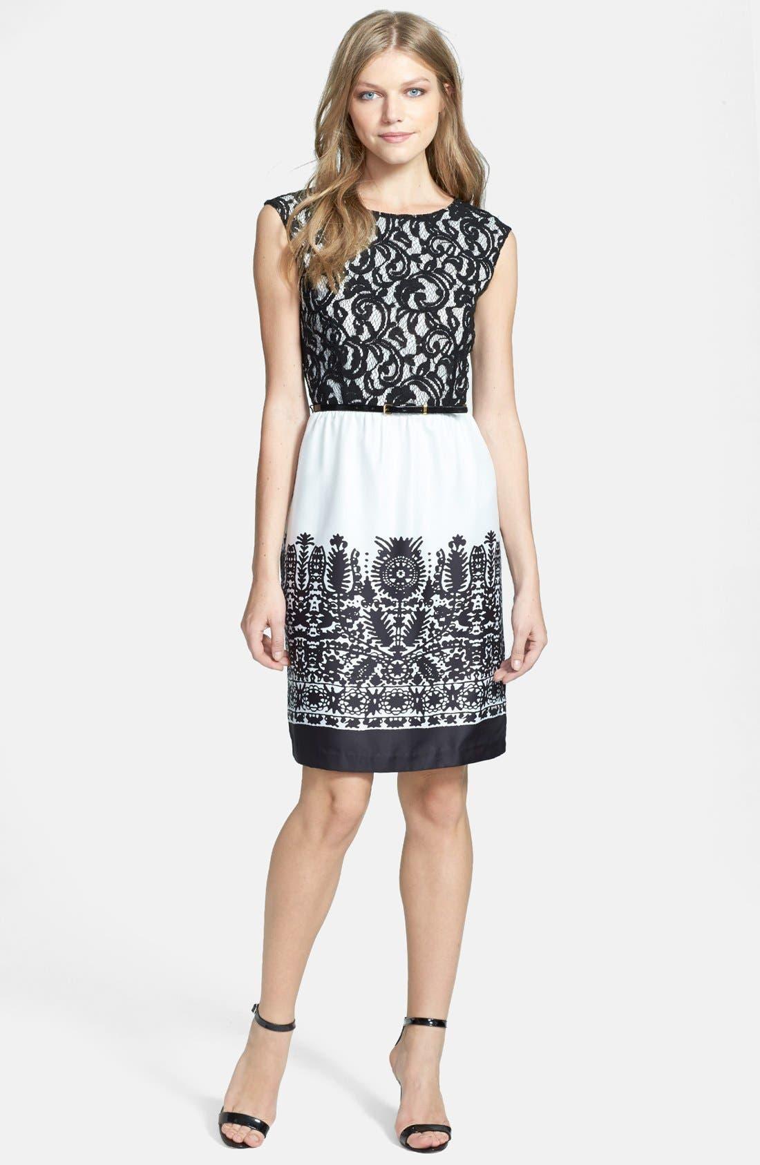 Alternate Image 2  - Ellen Tracy Mixed Media Sheath Dress