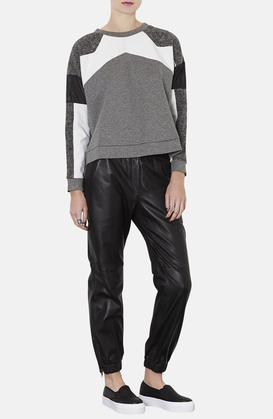Alternate Image 4  - Topshop Perforated Mixed Media Sweatshirt