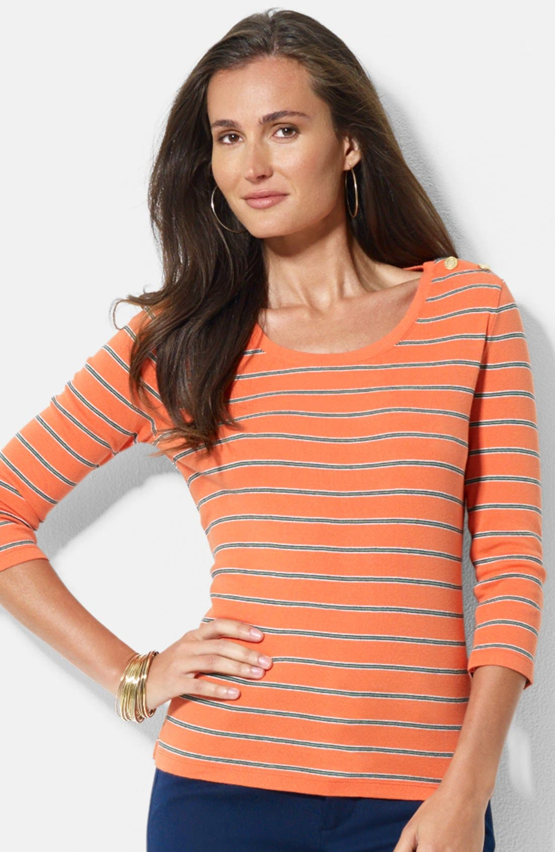 Main Image - Lauren Ralph Lauren Snap Shoulder Stripe Cotton Top