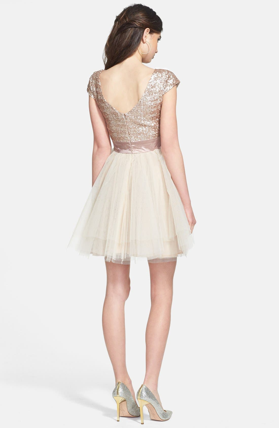 Alternate Image 2  - Trixxi Sequin & Tulle Party Dress (Juniors)