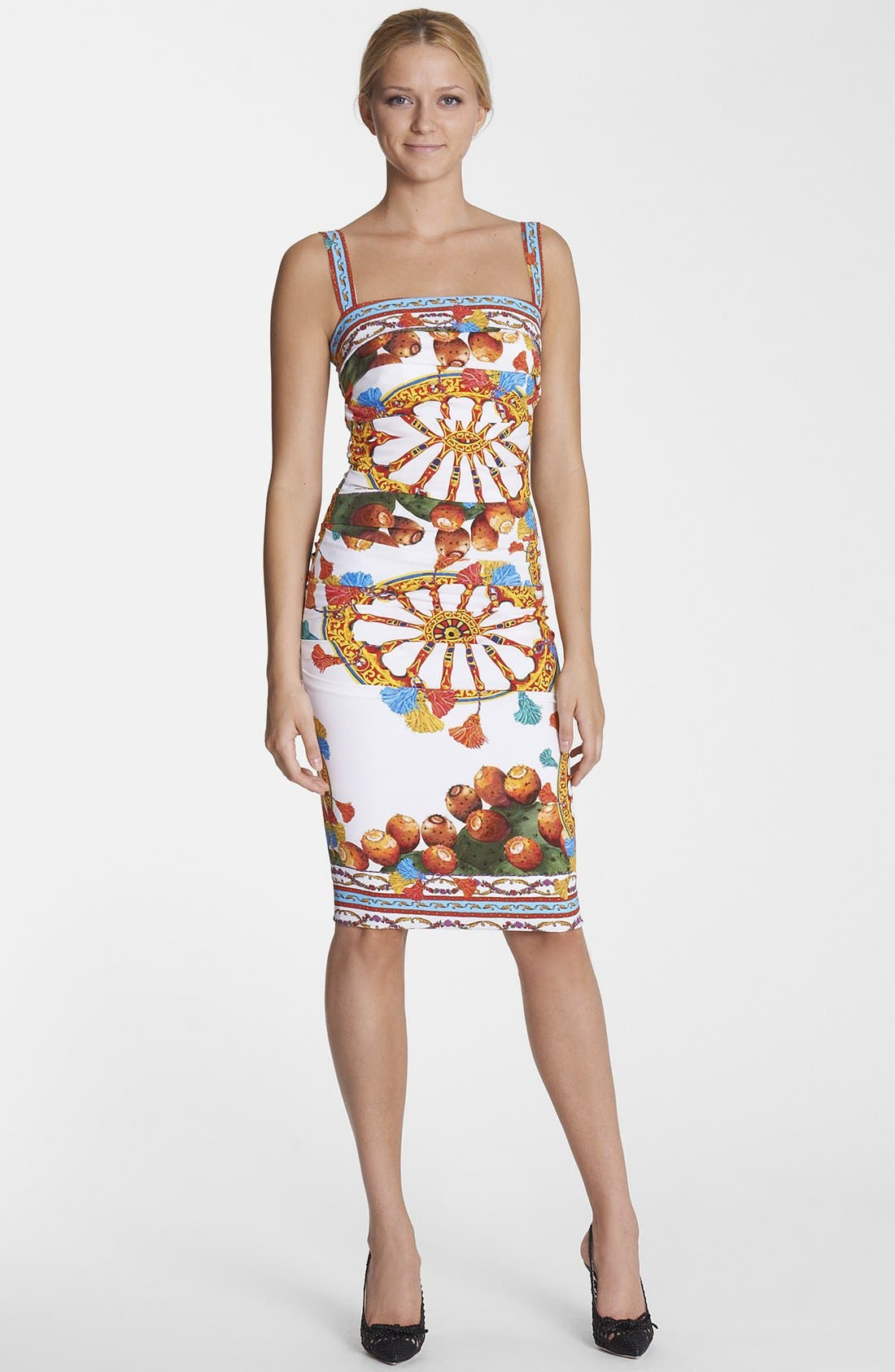 Alternate Image 1 Selected - Dolce&Gabbana Wheel Print Ruched Tank Dress