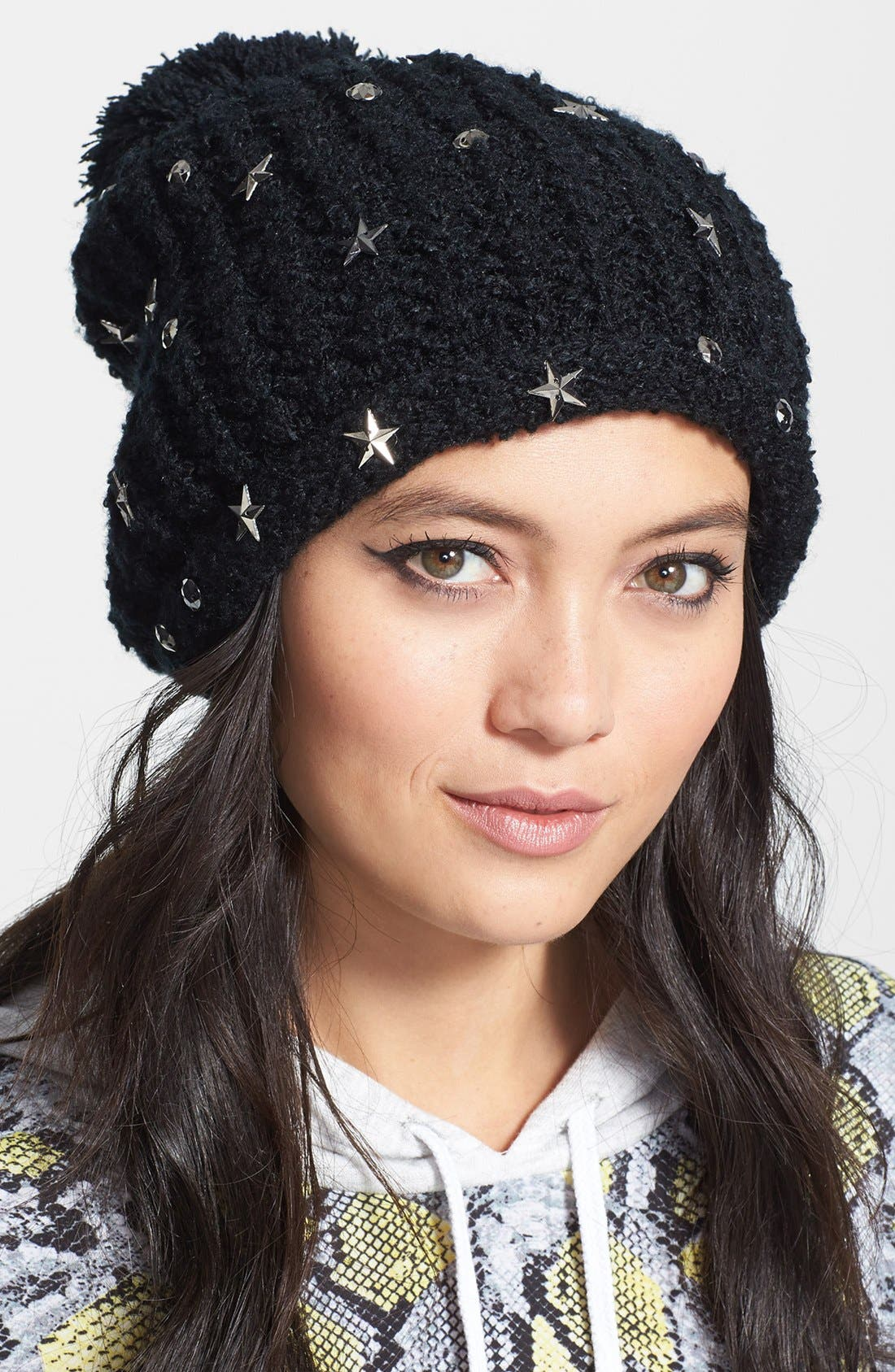 Alternate Image 1 Selected - Faubourg du Temple Embellished Pompom Beanie