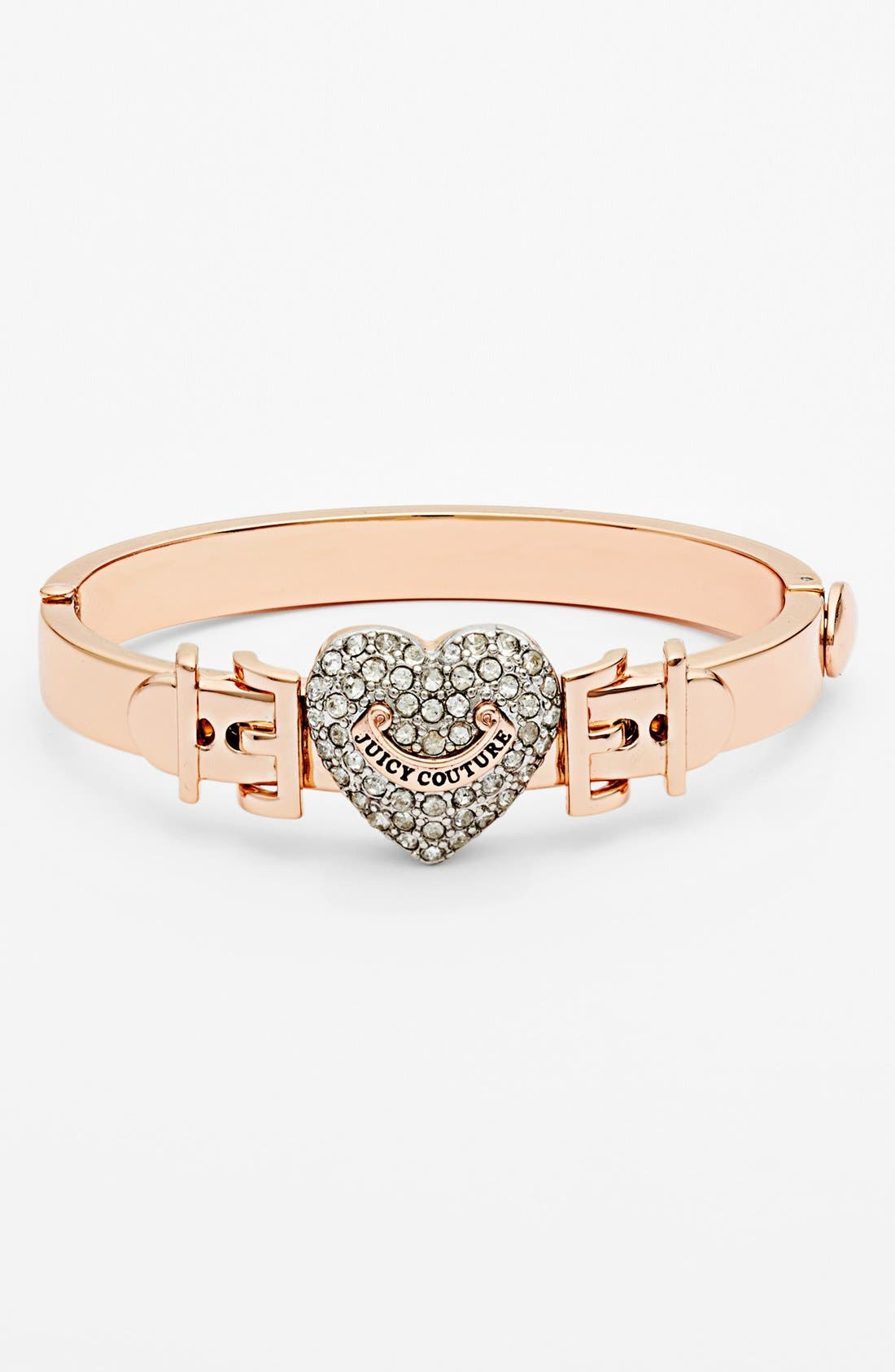 Main Image - Juicy Couture 'Juicy at Heart' Pavé Heart Buckle Hinged Bangle