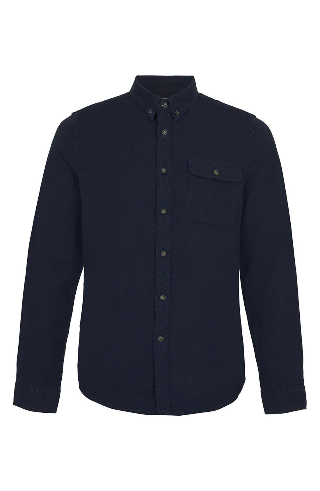 Alternate Image 1 Selected - Topman Brushed Herringbone Shirt