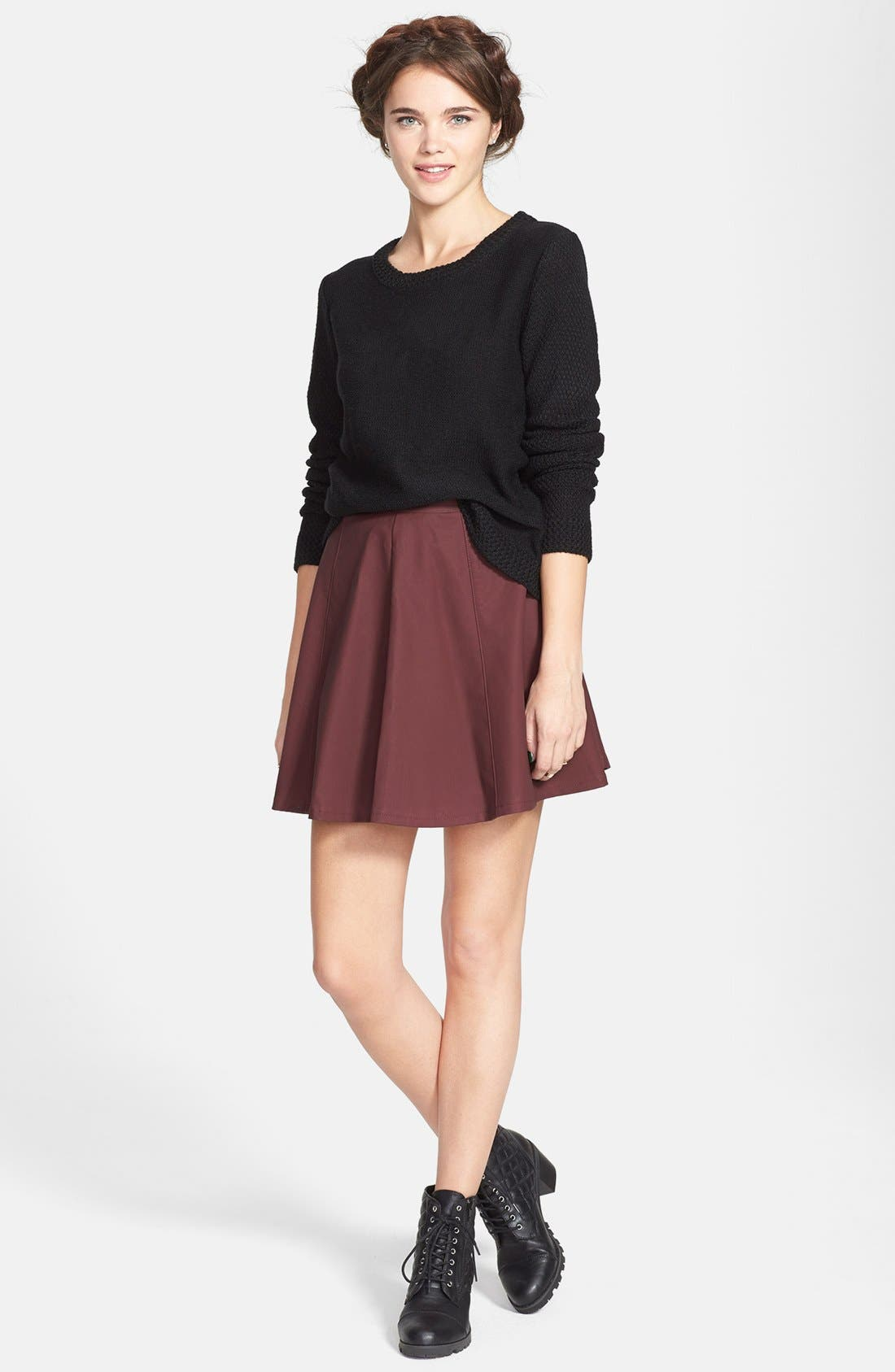 Alternate Image 2  - Lily White Faux Leather Skater Skirt (Juniors)