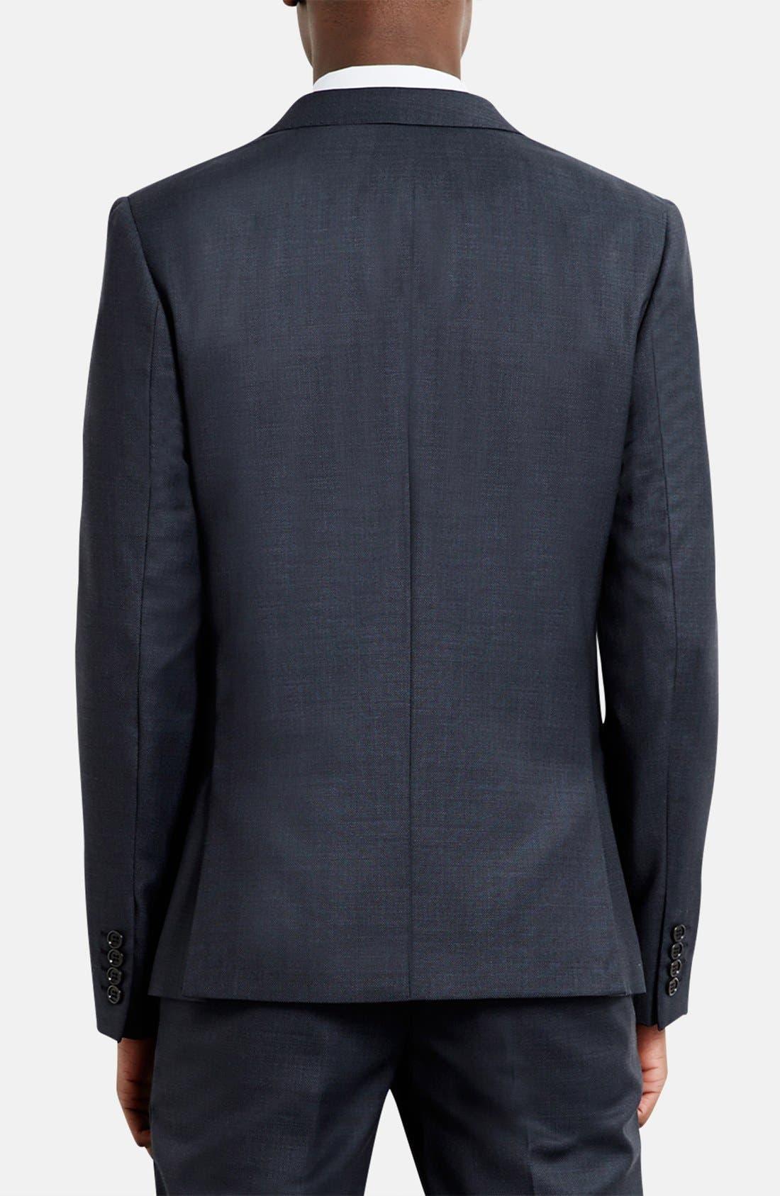 Alternate Image 2  - Topman Skinny Fit Peak Lapel Wool Blend Sport Coat