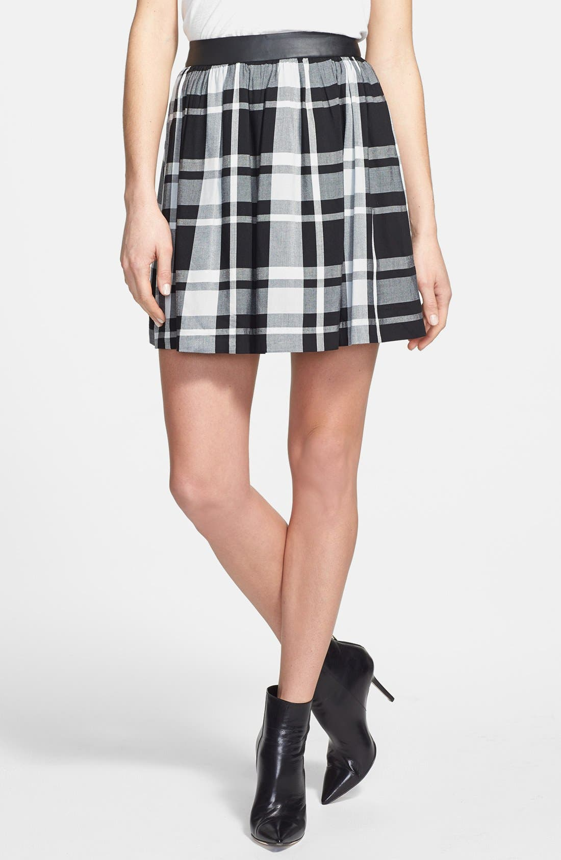 Main Image - kensie Faux Leather Waistband Plaid Skirt