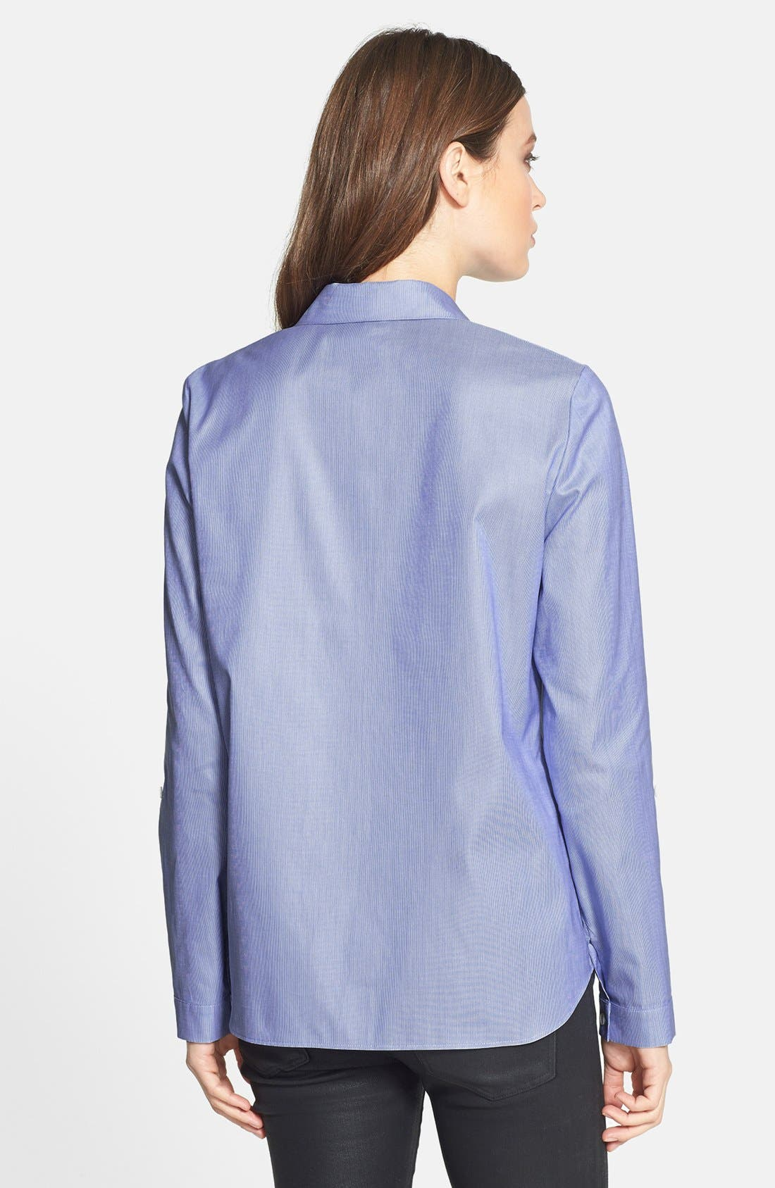 Alternate Image 2  - Lafayette 148 New York 'Piano Stripe' Roll Sleeve Cotton Shirt
