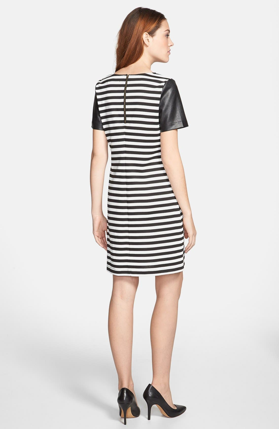 Alternate Image 2  - Sunday in Brooklyn Faux Leather Sleeve Shift Dress