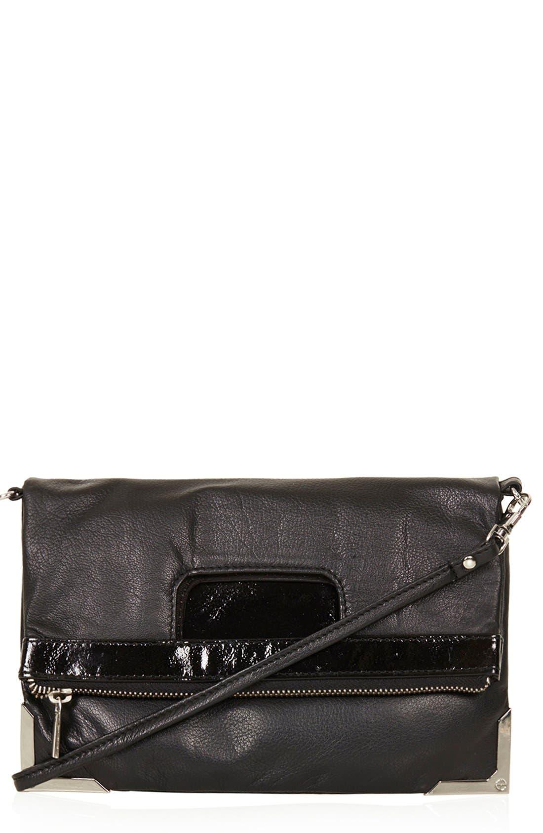 Alternate Image 1 Selected - Topshop Metal Corner Leather Crossbody Bag
