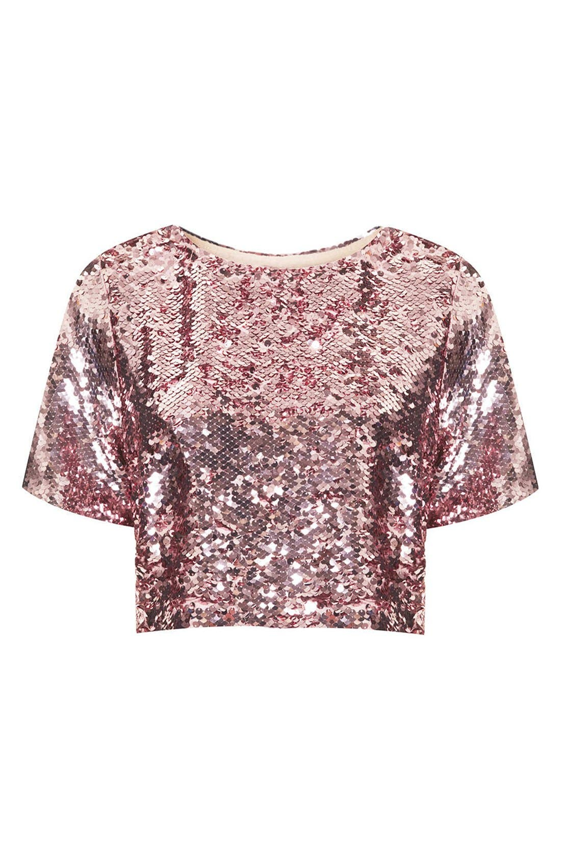 Alternate Image 3  - Topshop Sequin Crop Tee