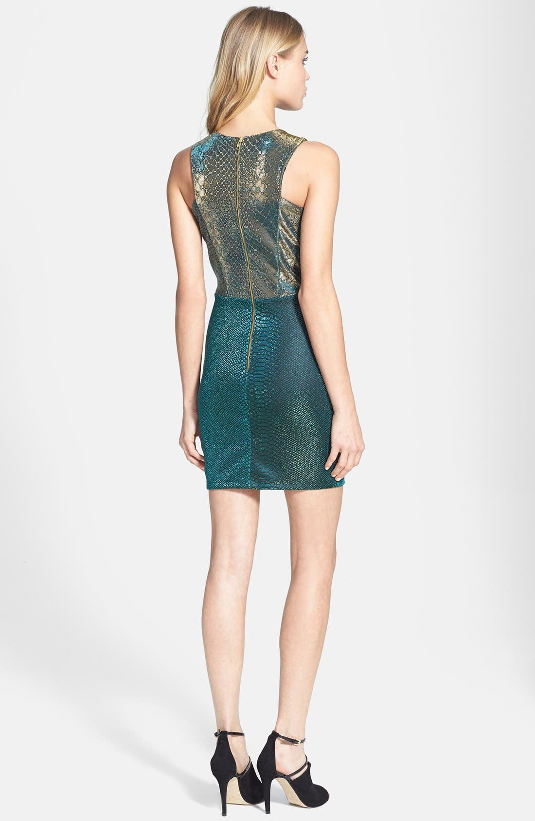 Alternate Image 2  - Topshop Cutout Snake Print Body-Con Dress