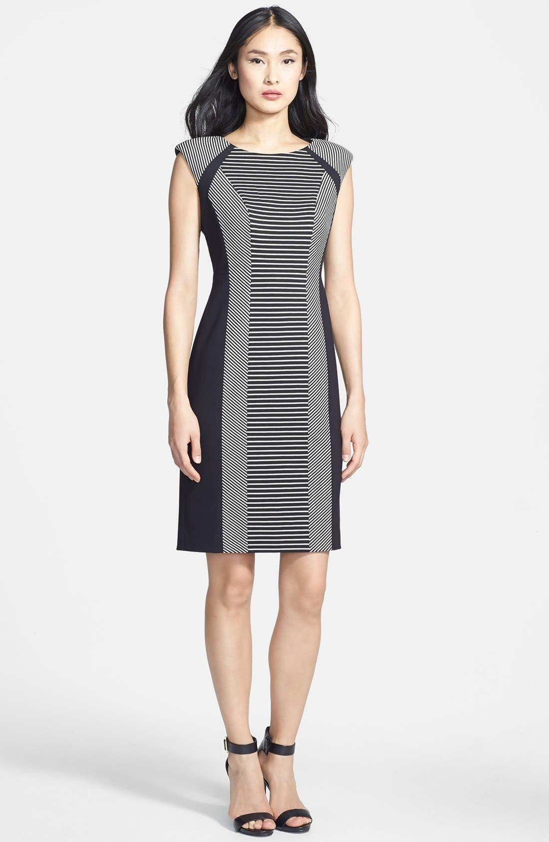 Alternate Image 1 Selected - Classiques Entier® 'Linear' Stripe Panel Ponte Dress