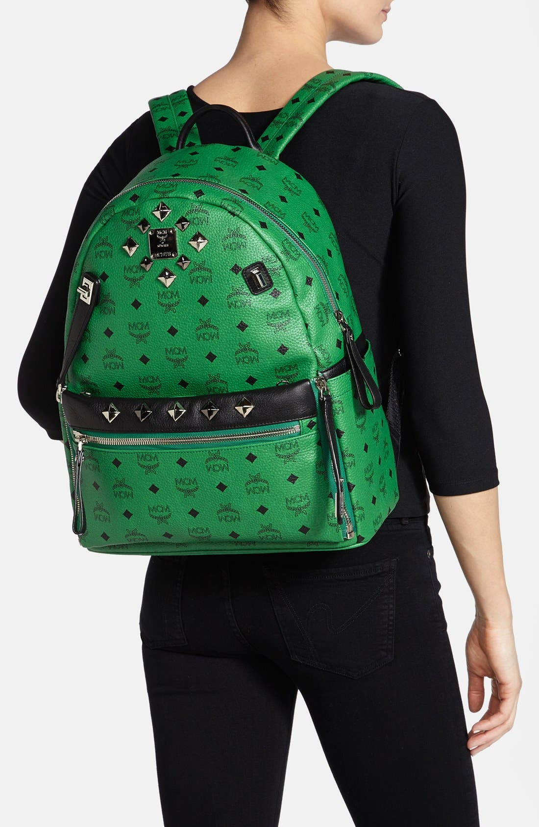 Alternate Image 2  - MCM 'Studded - Medium' Coated Canvas Backpack