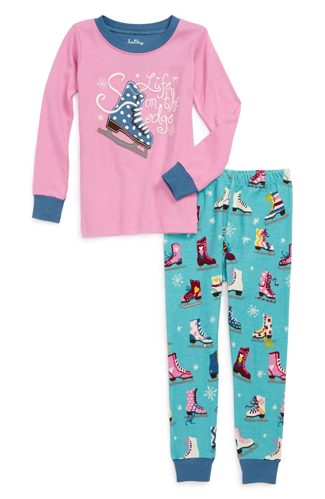 Main Image - Hatley 'Life on the Edge' Two-Piece Fitted Pajamas (Toddler Girls)