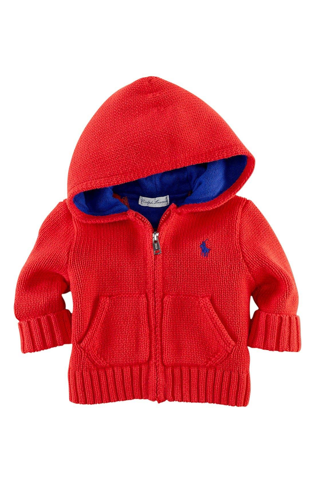 Alternate Image 1 Selected - Ralph Lauren Full Zip Hooded Cardigan (Baby)