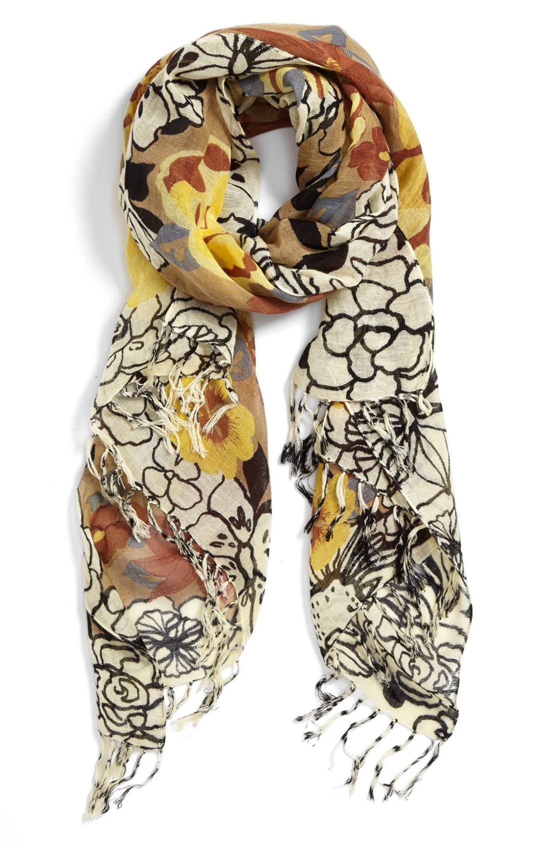 Main Image - Halogen® 'Garden Party' Linen Blend Scarf