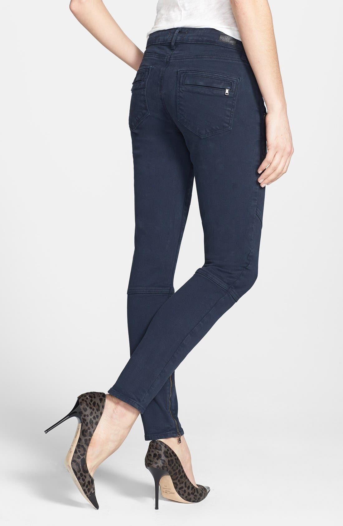 Alternate Image 2  - Paige Denim 'Marley' Skinny Twill Moto Pants (Azure)