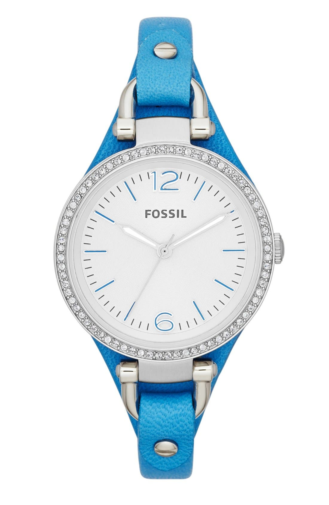 Main Image - Fossil 'Georgia' Crystal Bezel Leather Strap Watch, 32mm